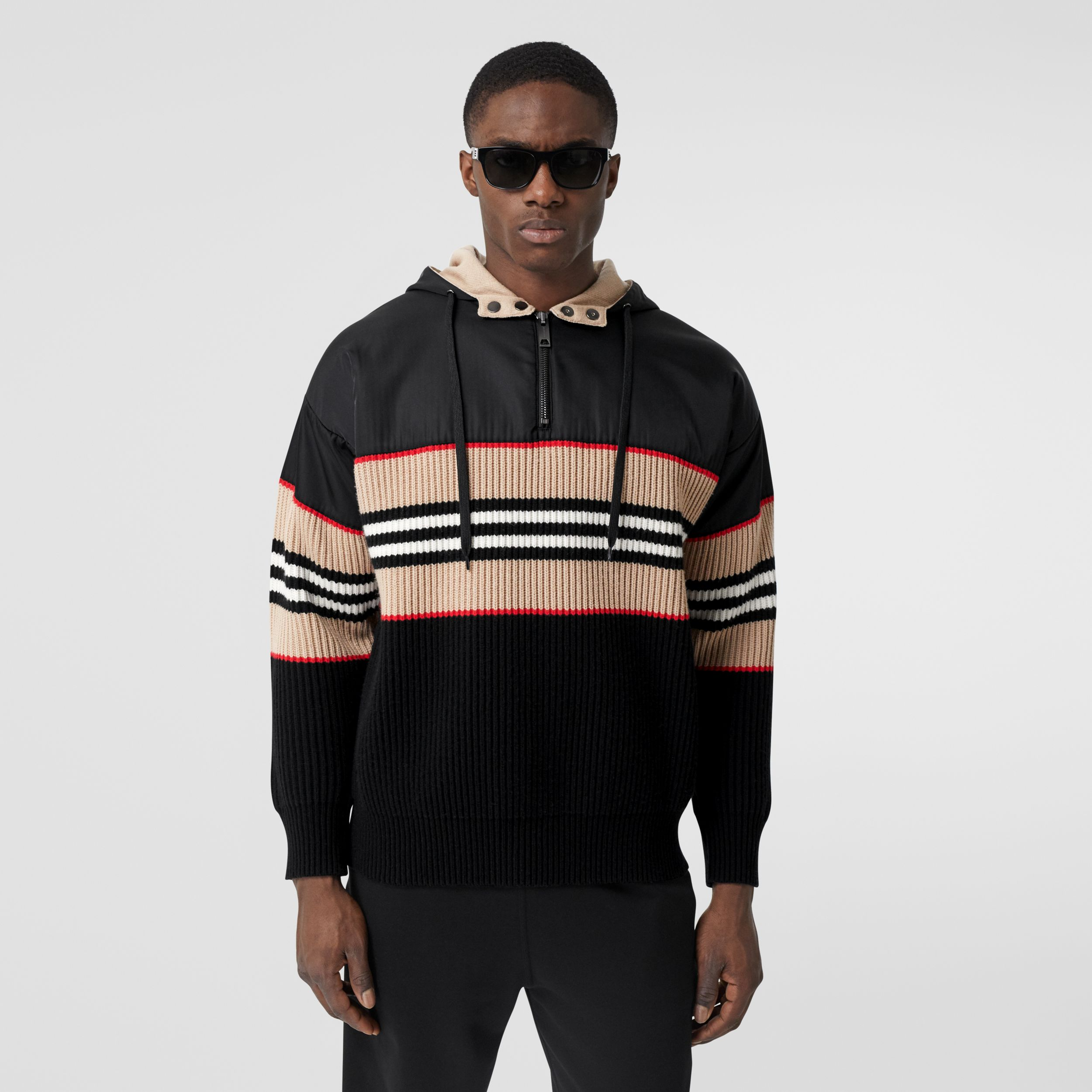 Icon Stripe Rib Knit Wool Cashmere Hoodie - Men | Burberry - 1