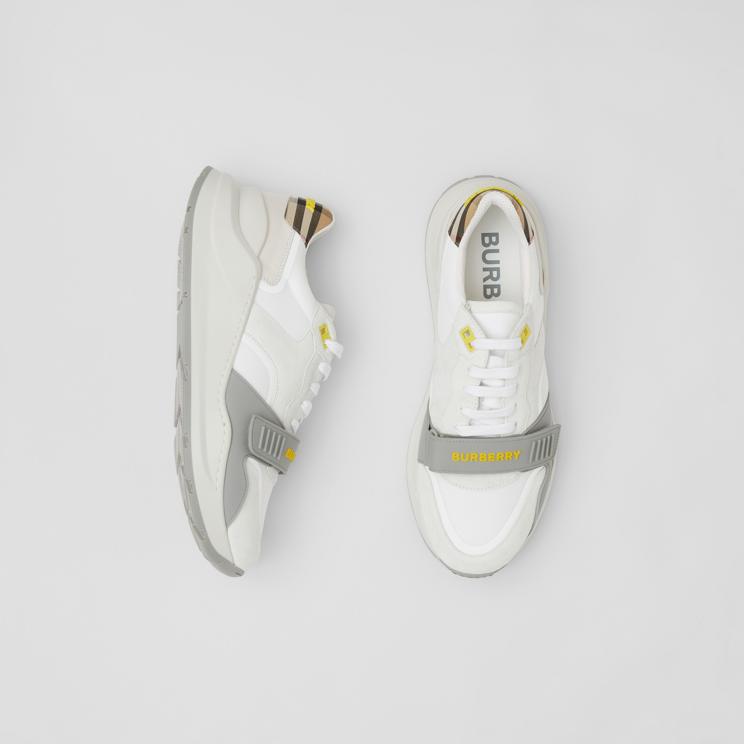 Suede, Vintage Check and Leather Sneakers in White/archive Beige/yellow - Men | Burberry United Kingdom - 1