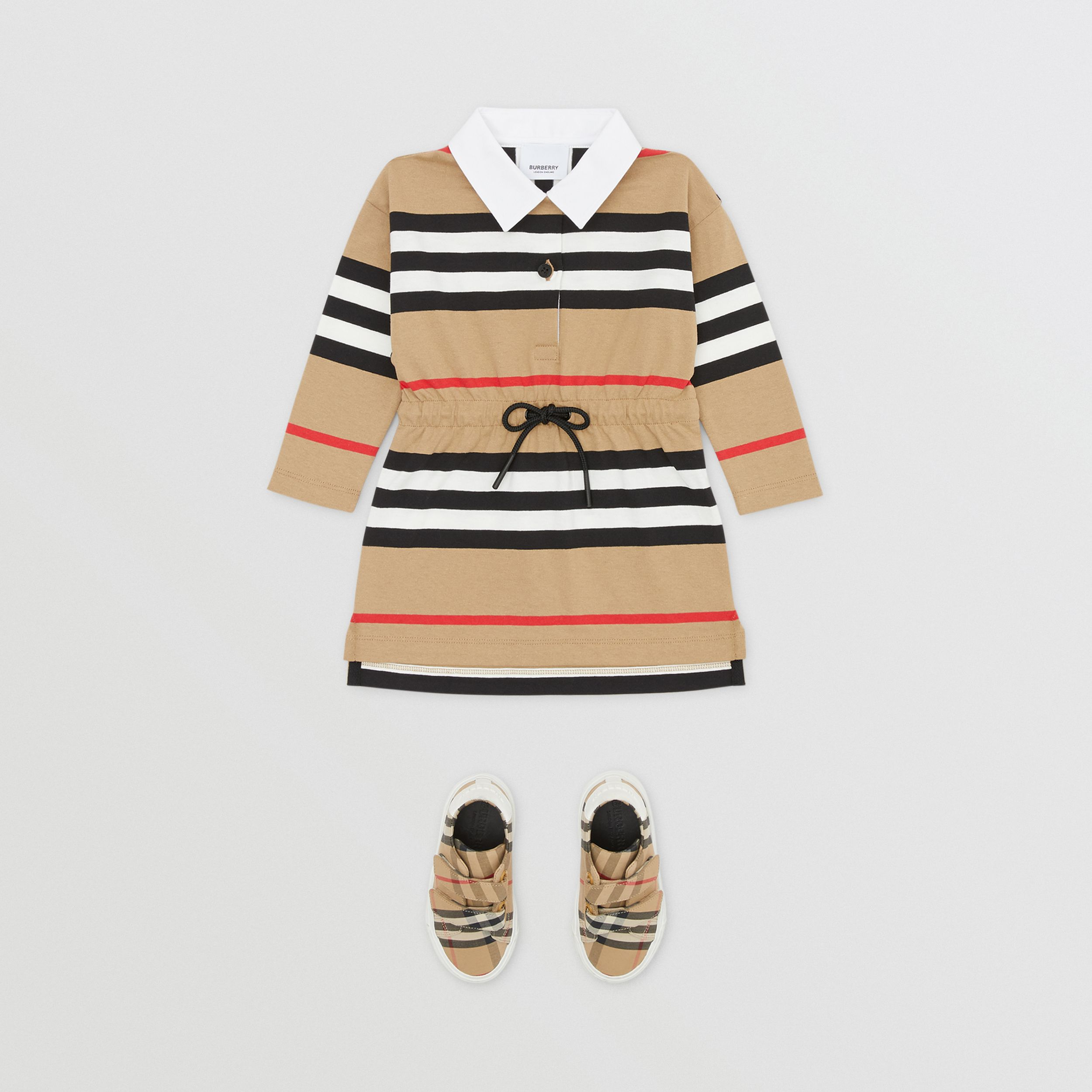 Long-sleeve Icon Stripe Cotton Dress in Archive Beige - Children | Burberry Hong Kong S.A.R. - 3