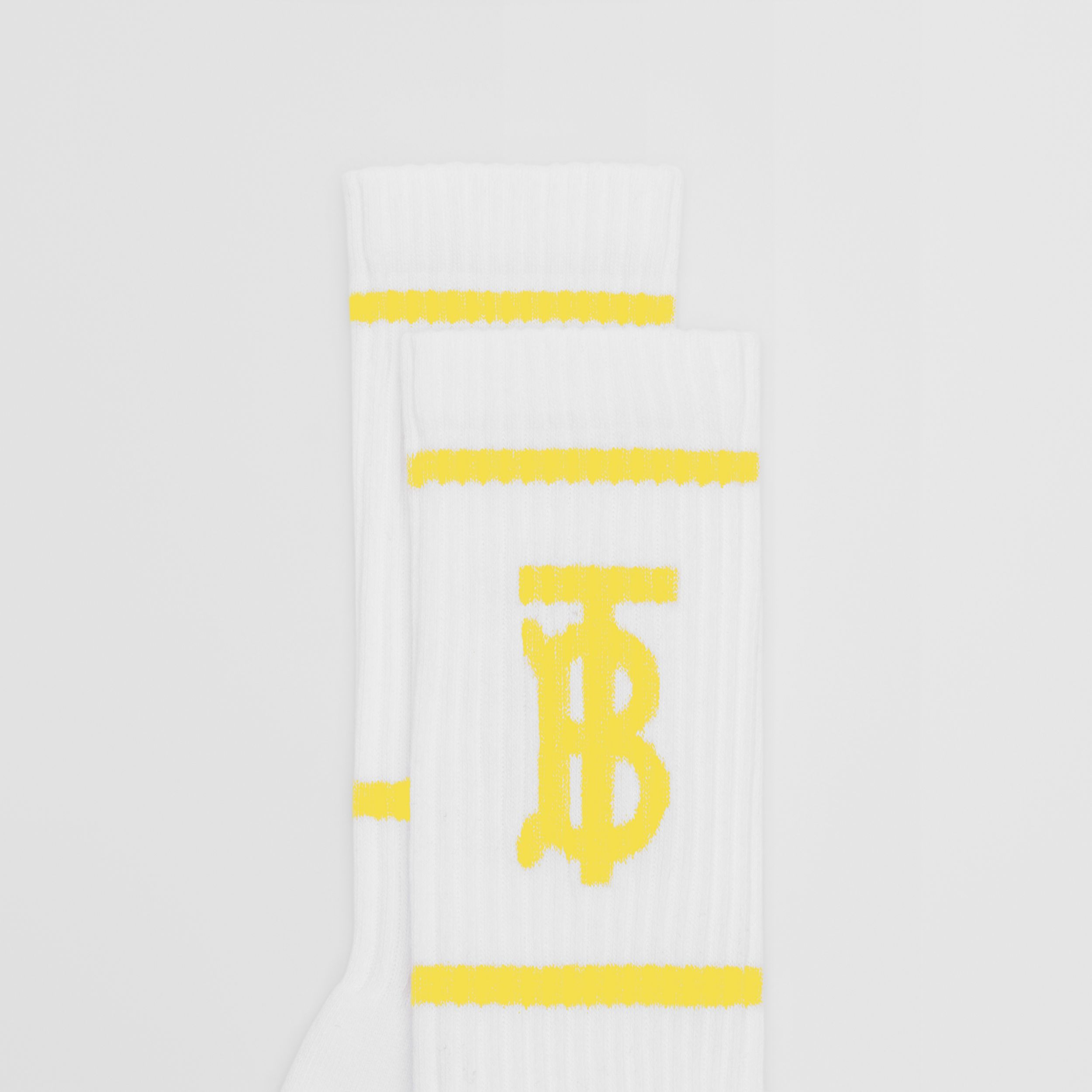 Monogram Motif Intarsia Socks in White/yellow | Burberry - 2