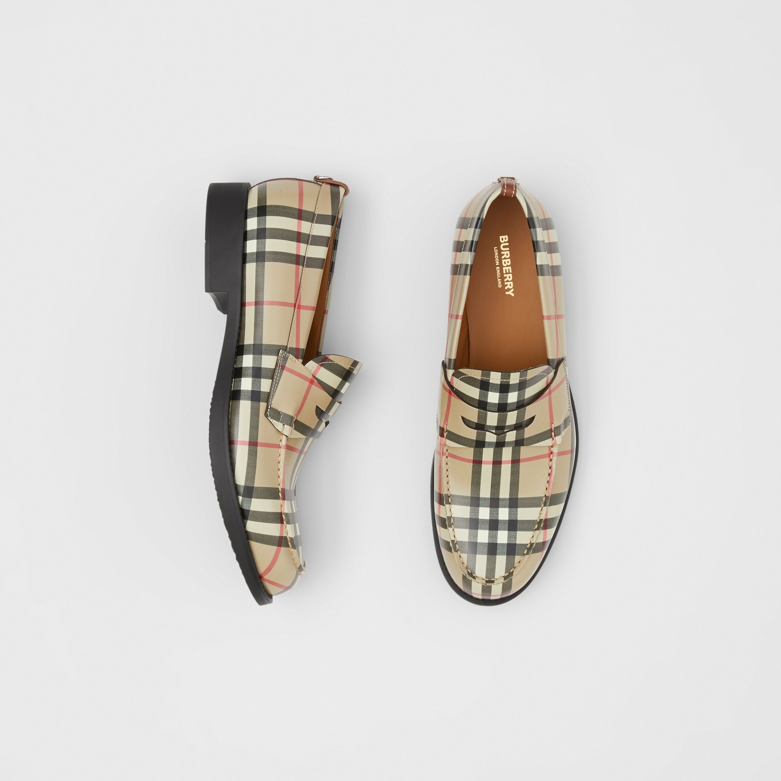D-ring Detail Vintage Check Leather Loafers in Archive Beige - Men | Burberry - 1