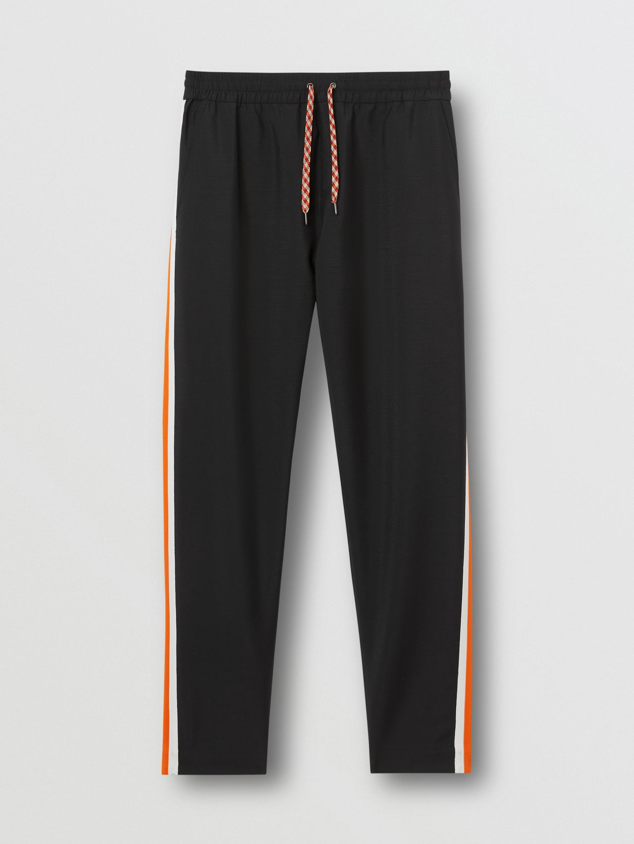 Side Stripe Mohair Wool Jogging Pants in Black