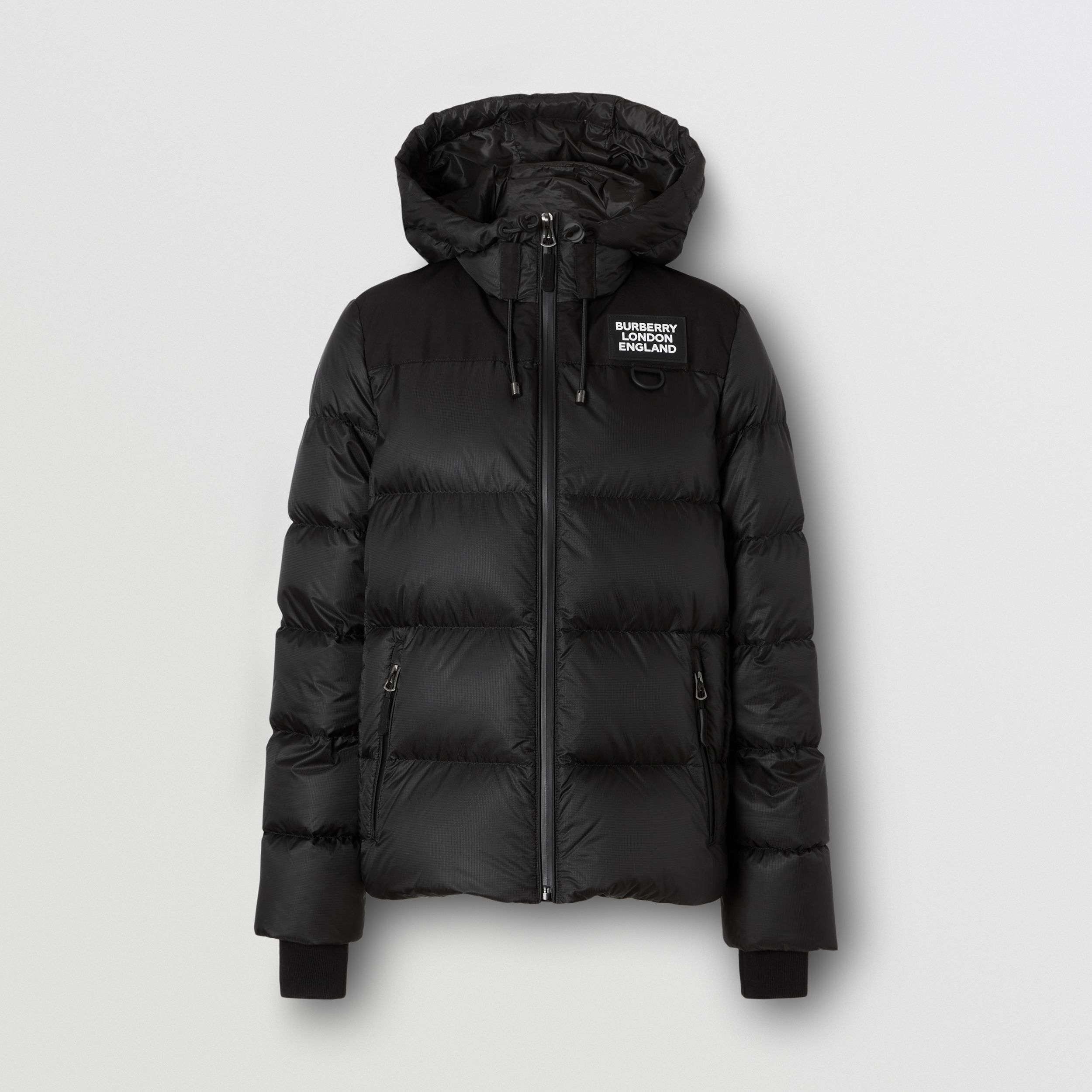 Logo Appliqué Hooded Puffer Jacket in Black - Women | Burberry - 1