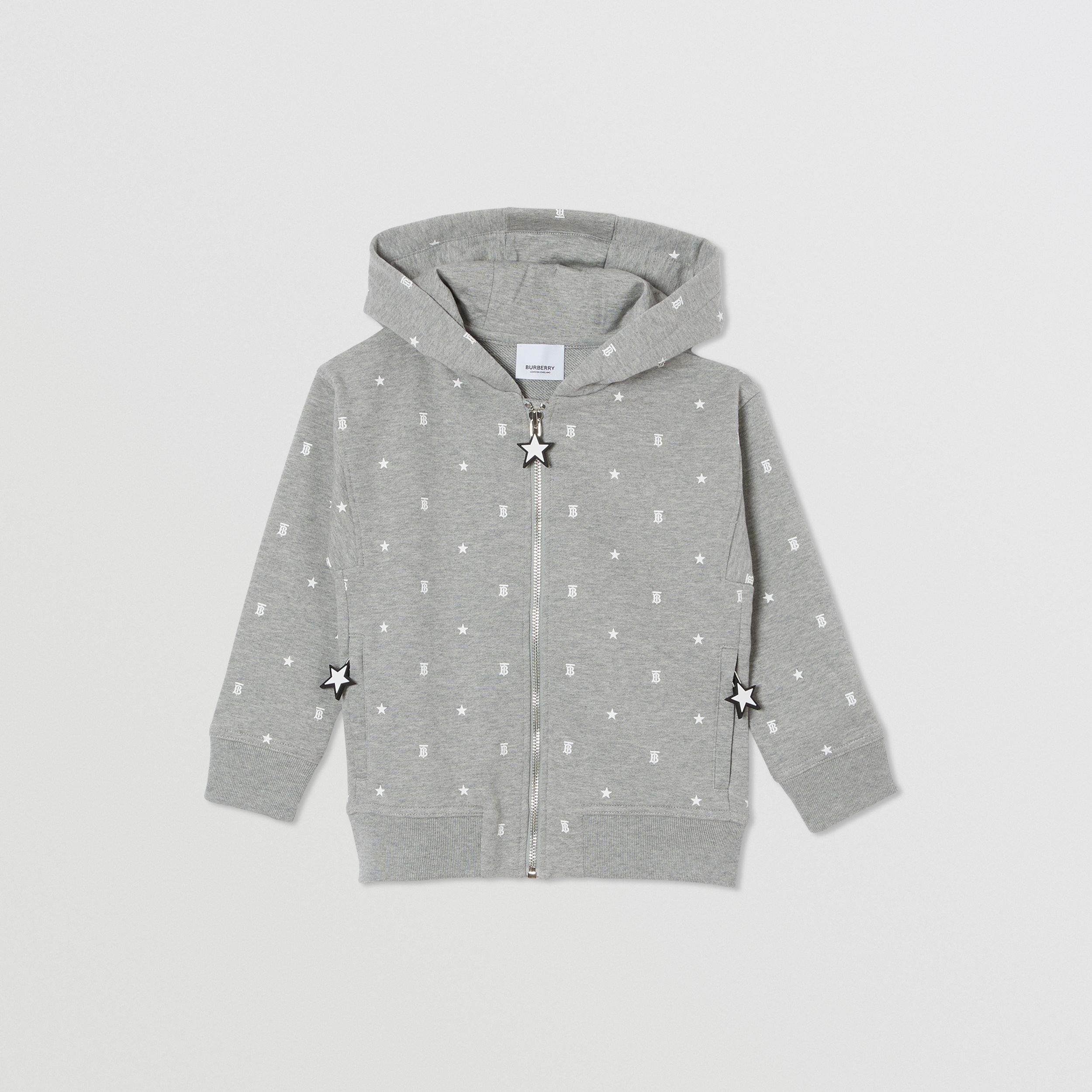 Star and Monogram Print Cotton Hooded Top in Grey | Burberry - 1