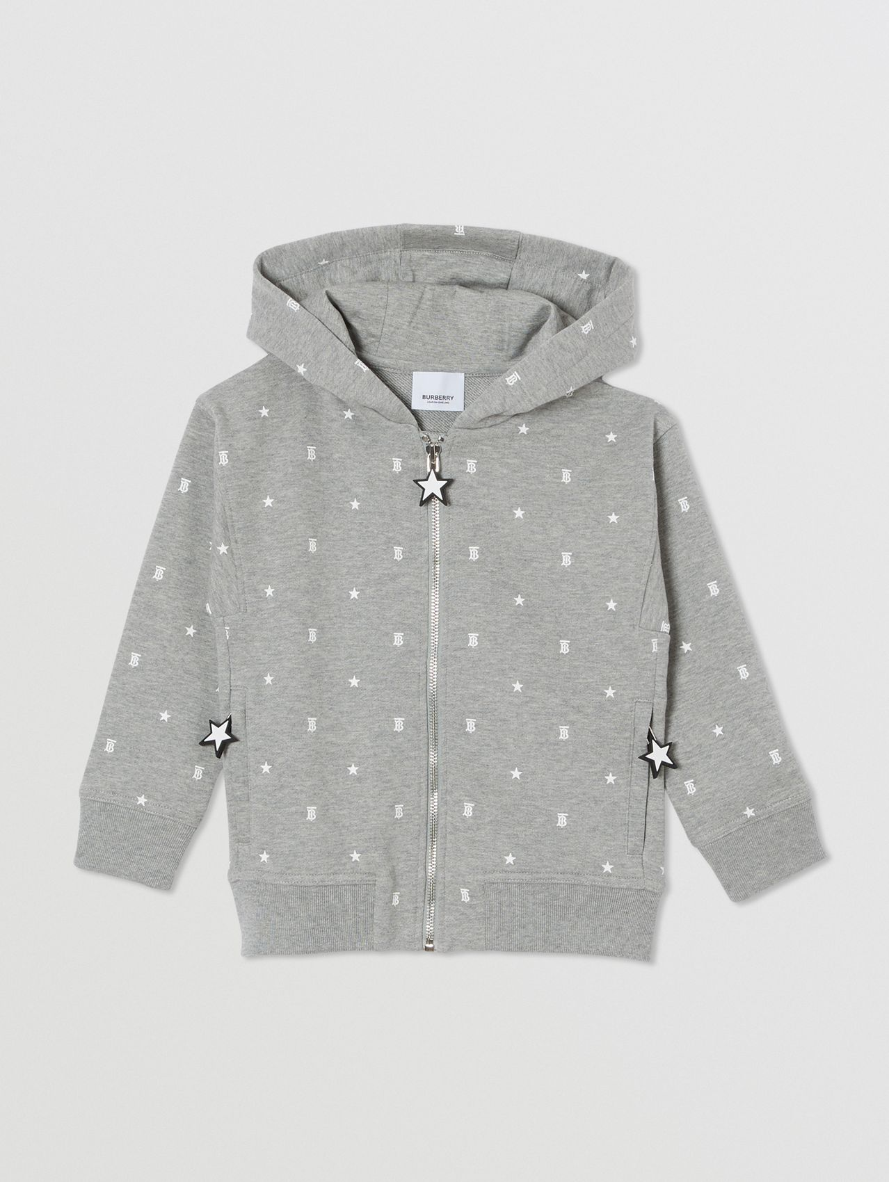 Star and Monogram Print Cotton Hooded Top in Grey