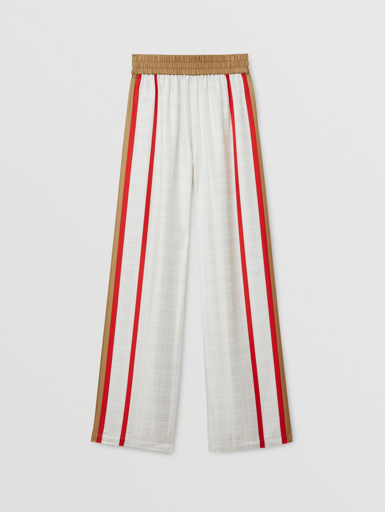 Archive Scarf Print Silk Wide-leg Trousers in Honey