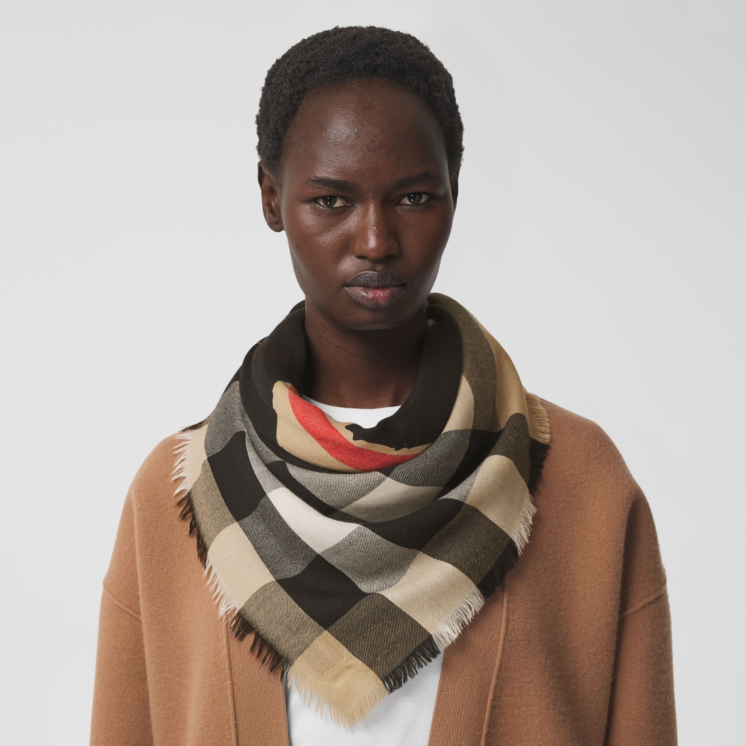 Love Print Lightweight Check Cashmere Scarf in Archive Beige | Burberry - 3