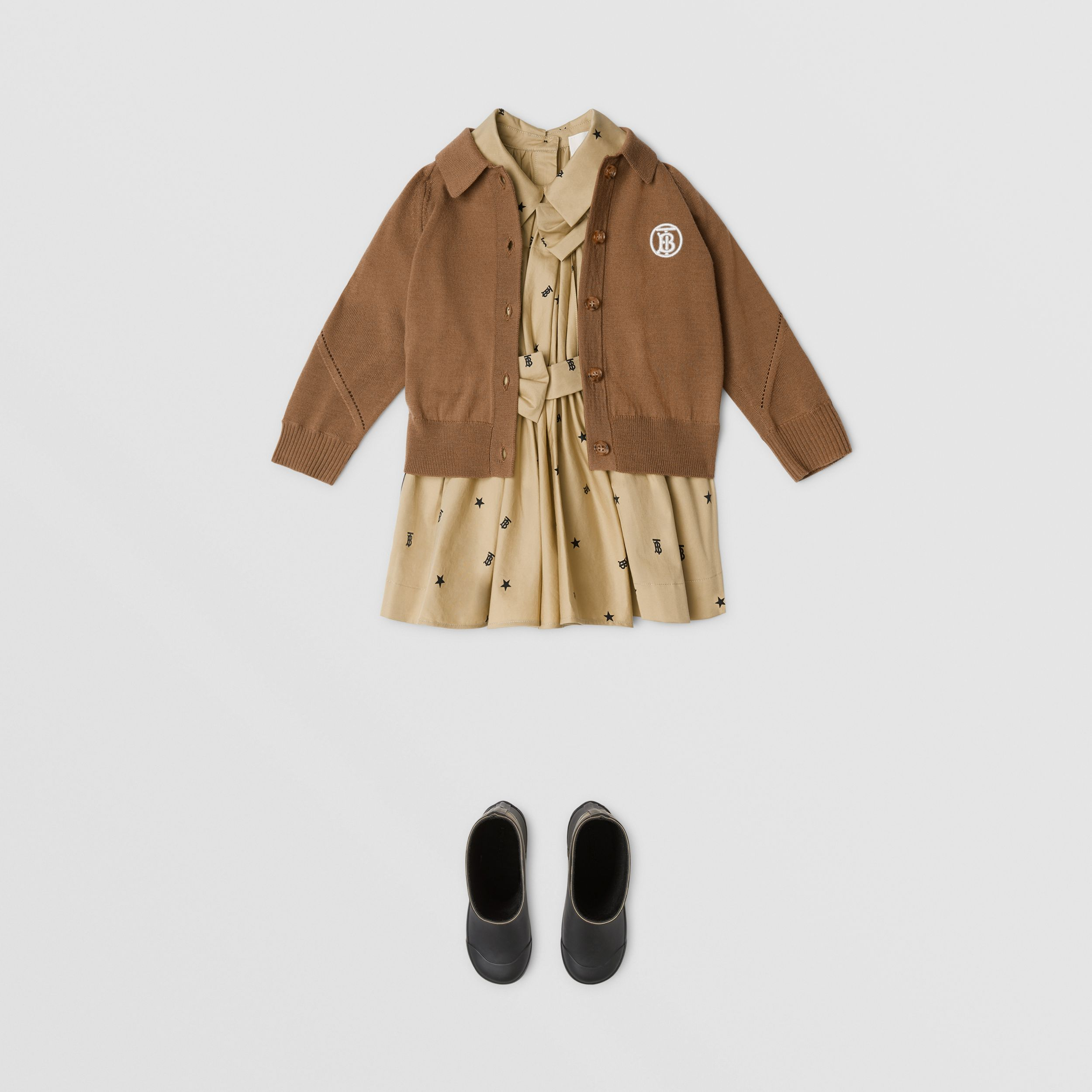 Monogram Motif Merino Wool Cardigan in Oak Brown - Children | Burberry - 3