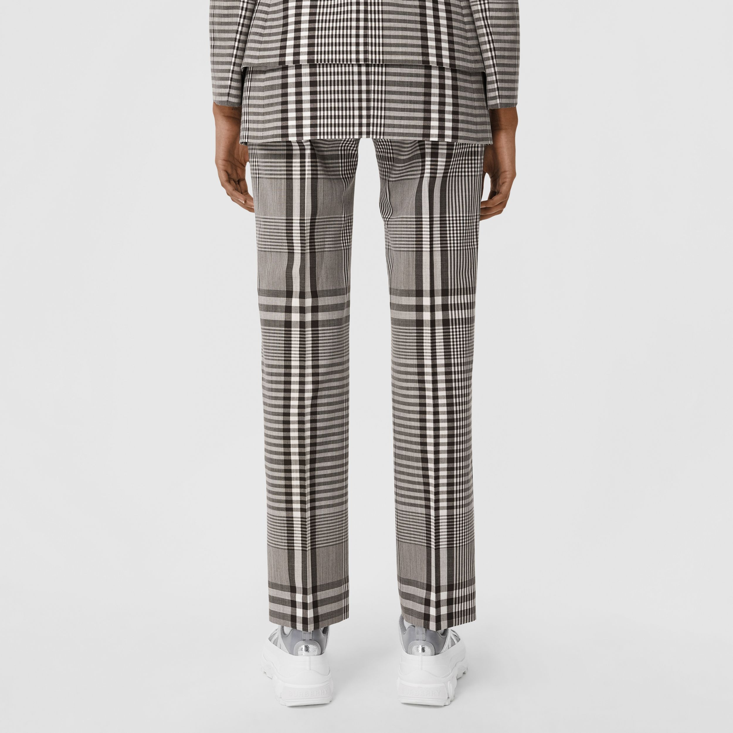 Check Technical Wool Cropped Trousers in Dark Brown - Women | Burberry Australia - 3