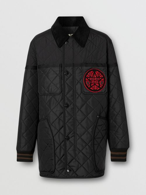 Burberry Jackets Varsity Graphic Diamond Quilted Barn Jacket