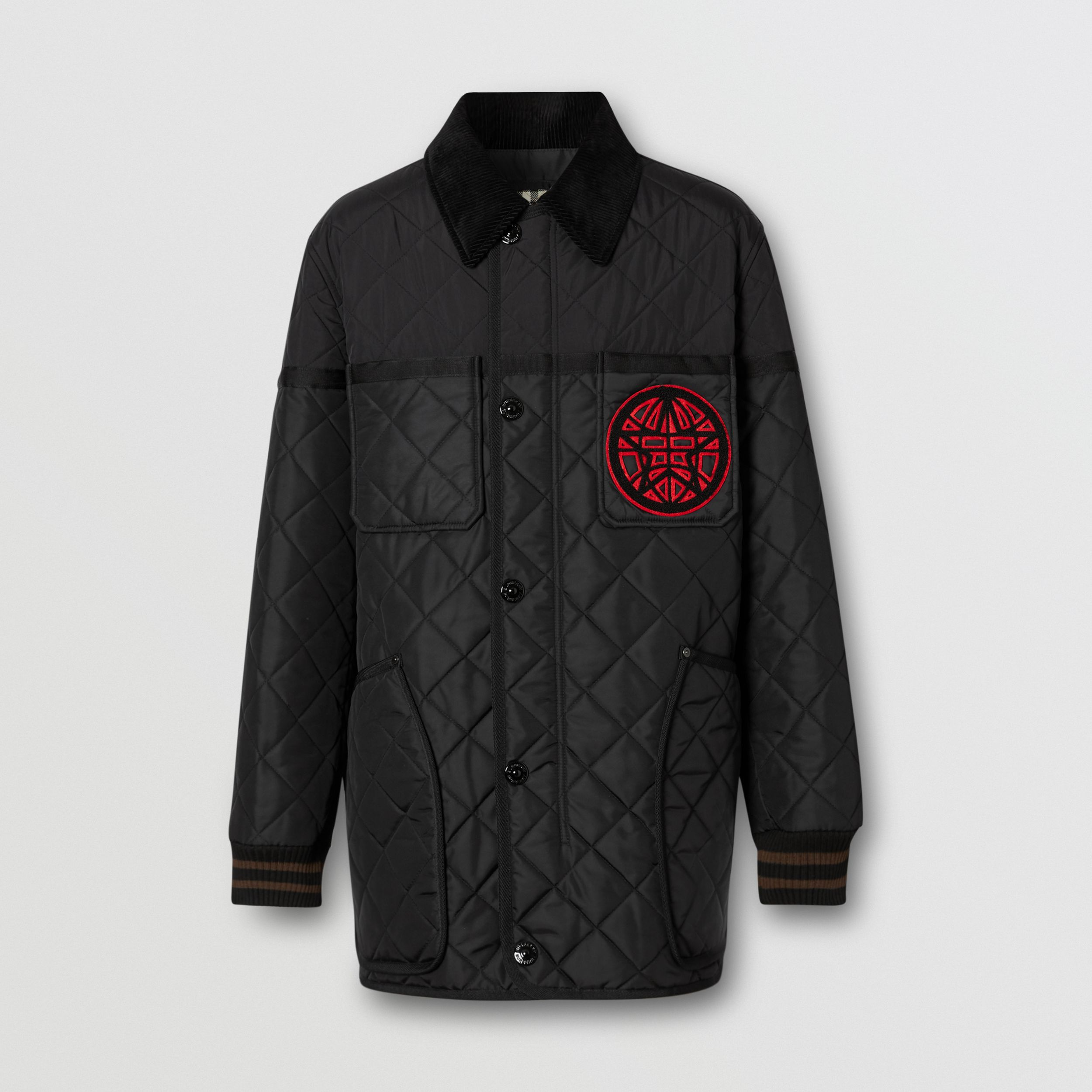 Varsity Graphic Diamond Quilted Barn Jacket in Black - Men | Burberry - 1