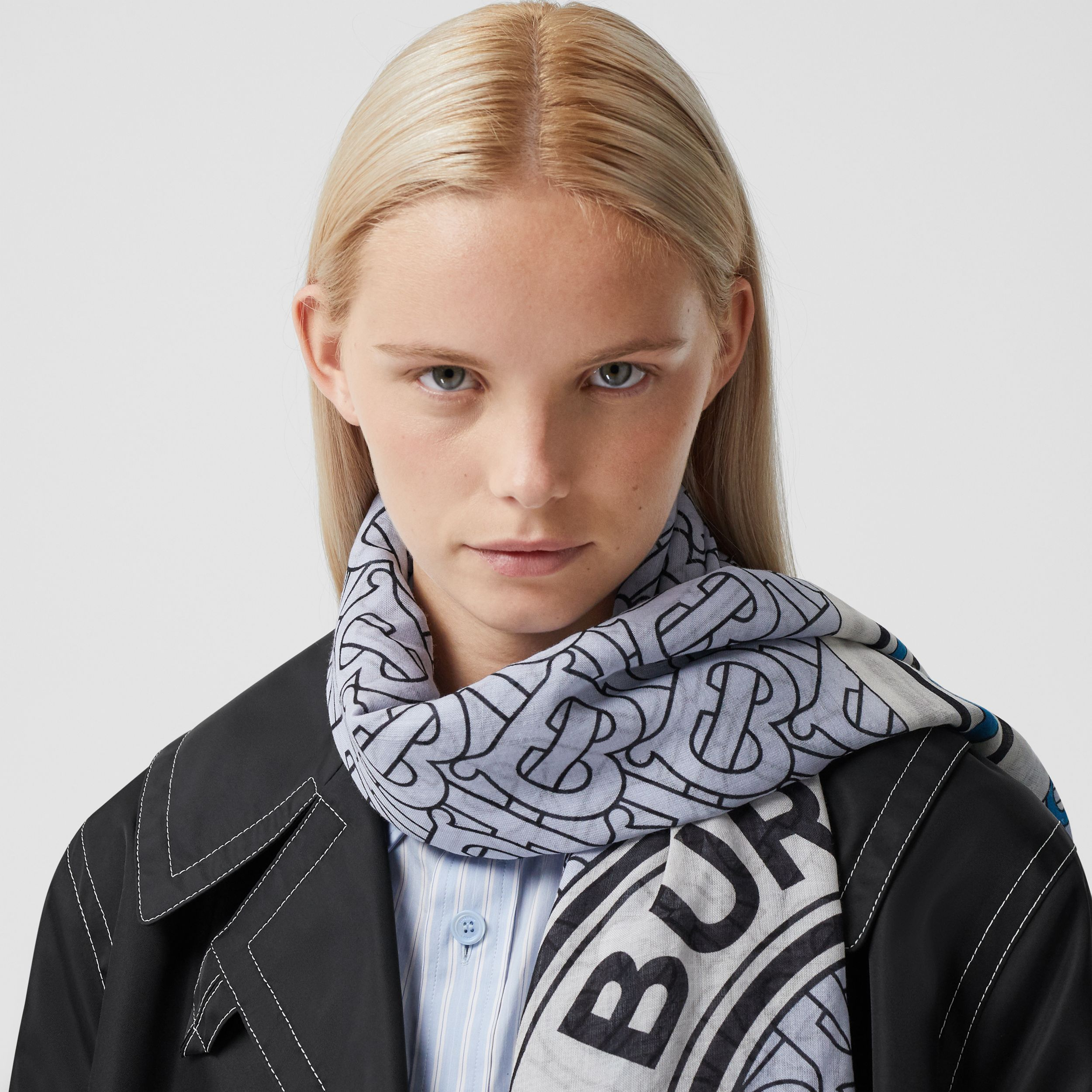 Monogram Print Wool Silk Large Square Scarf in Petrol Blue | Burberry - 3