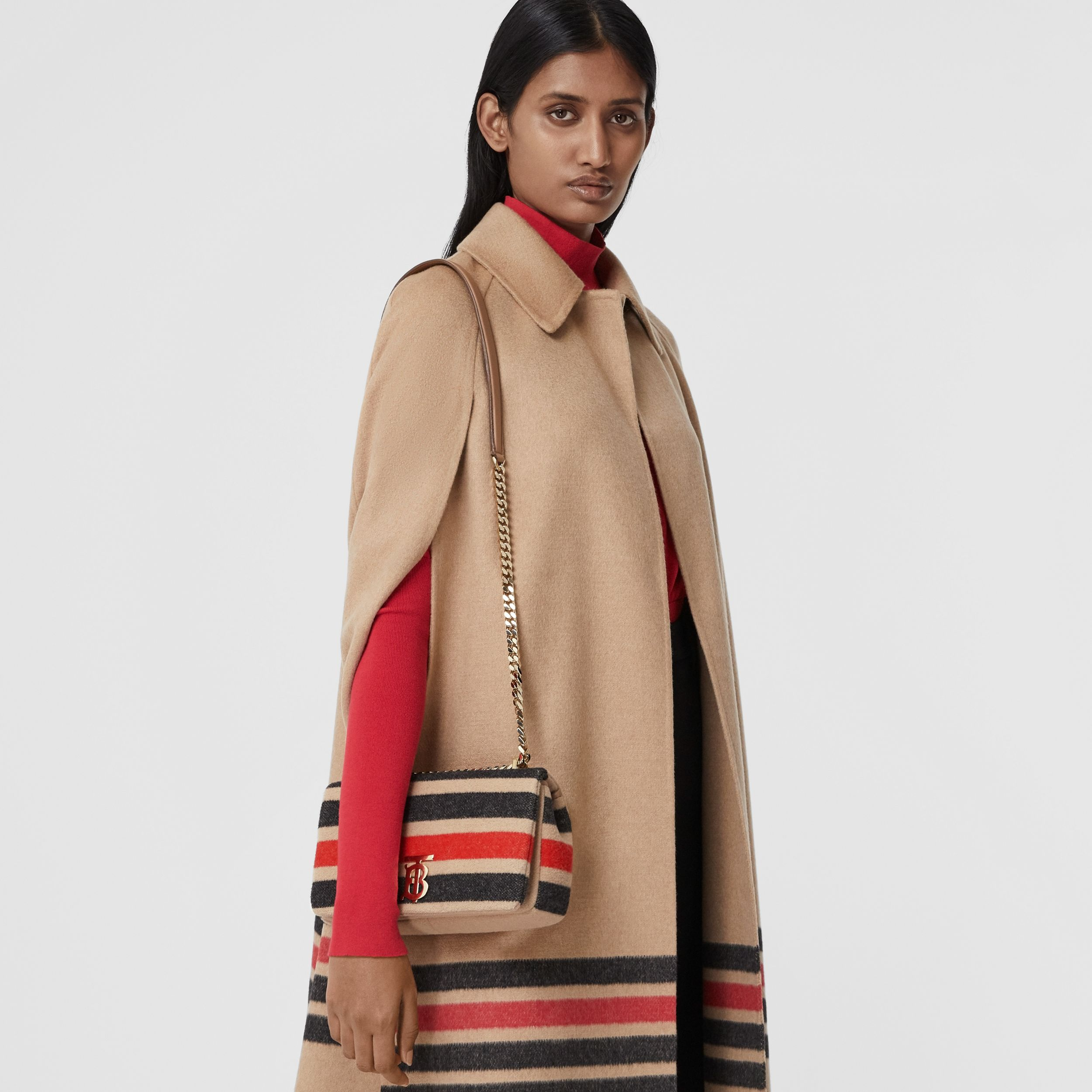 Small Striped Wool Lola Bag in Light Camel - Women | Burberry United Kingdom - 3