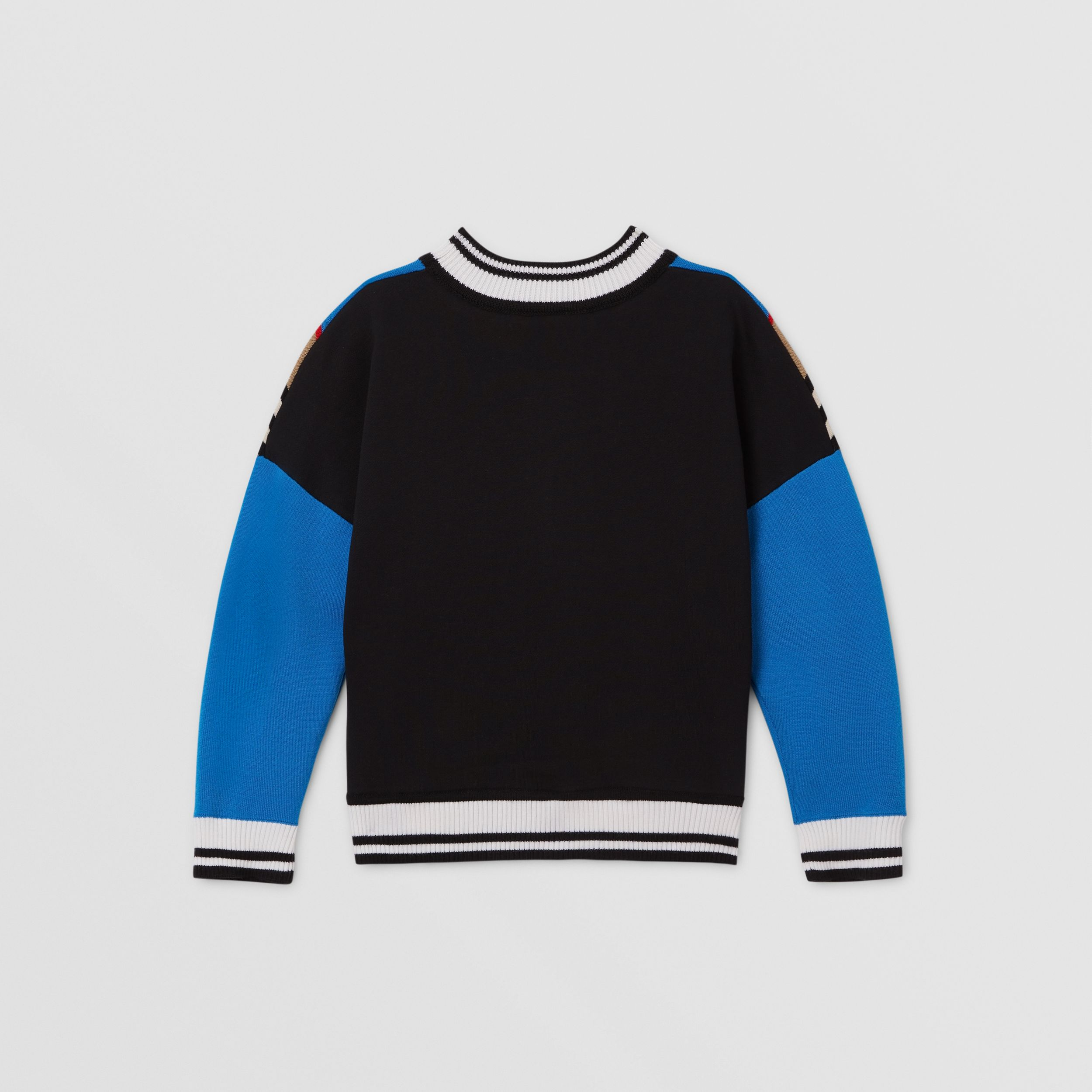 Icon Stripe Panel Wool Blend Sweater in Cerulean Blue | Burberry - 4
