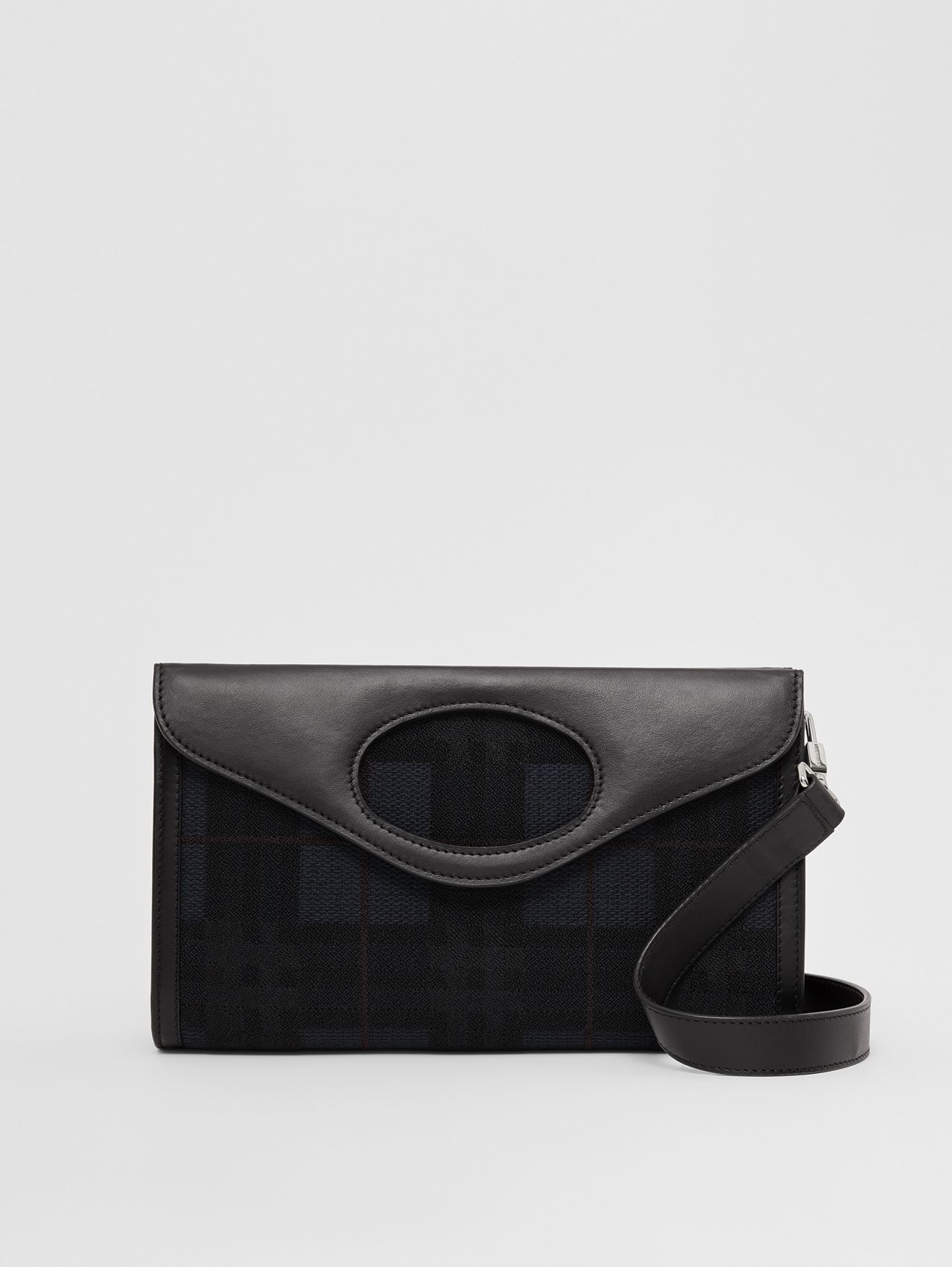 Embroidered Check Canvas Foldover Pocket Bag in Navy