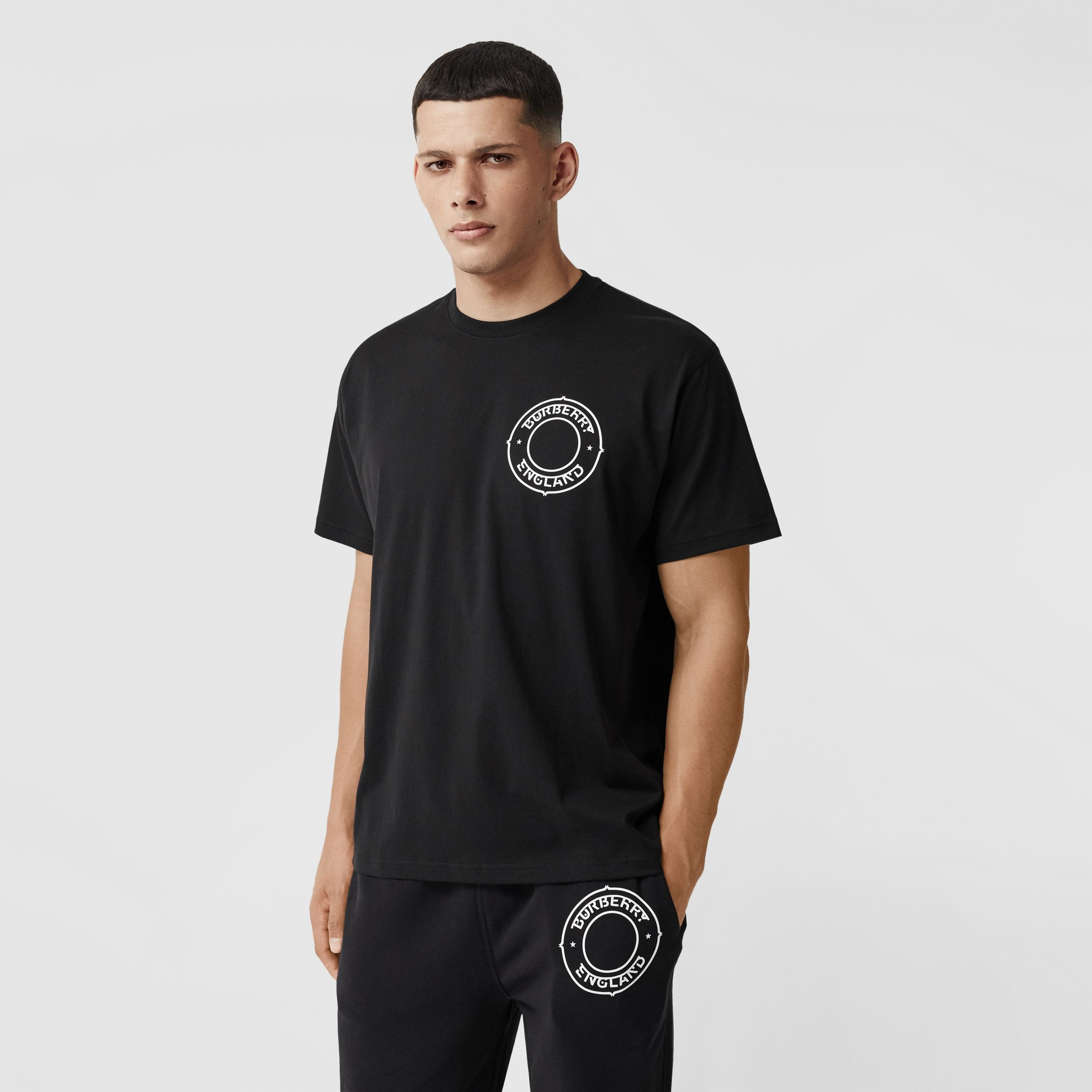 Logo Graphic Print Cotton Oversized T-shirt in Black - Men | Burberry Australia - 1