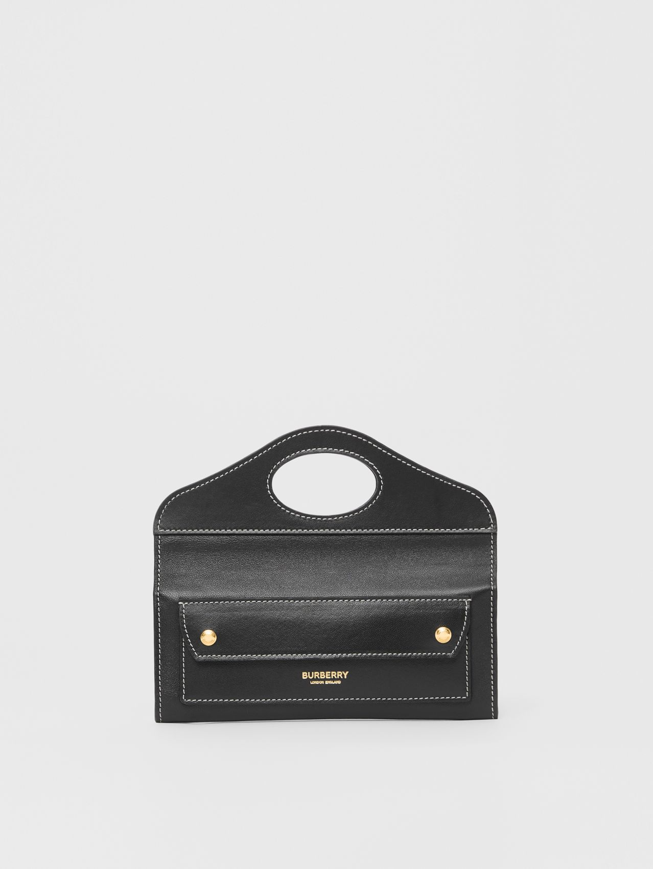 Mini Topstitched Lambskin Pocket Clutch in Black