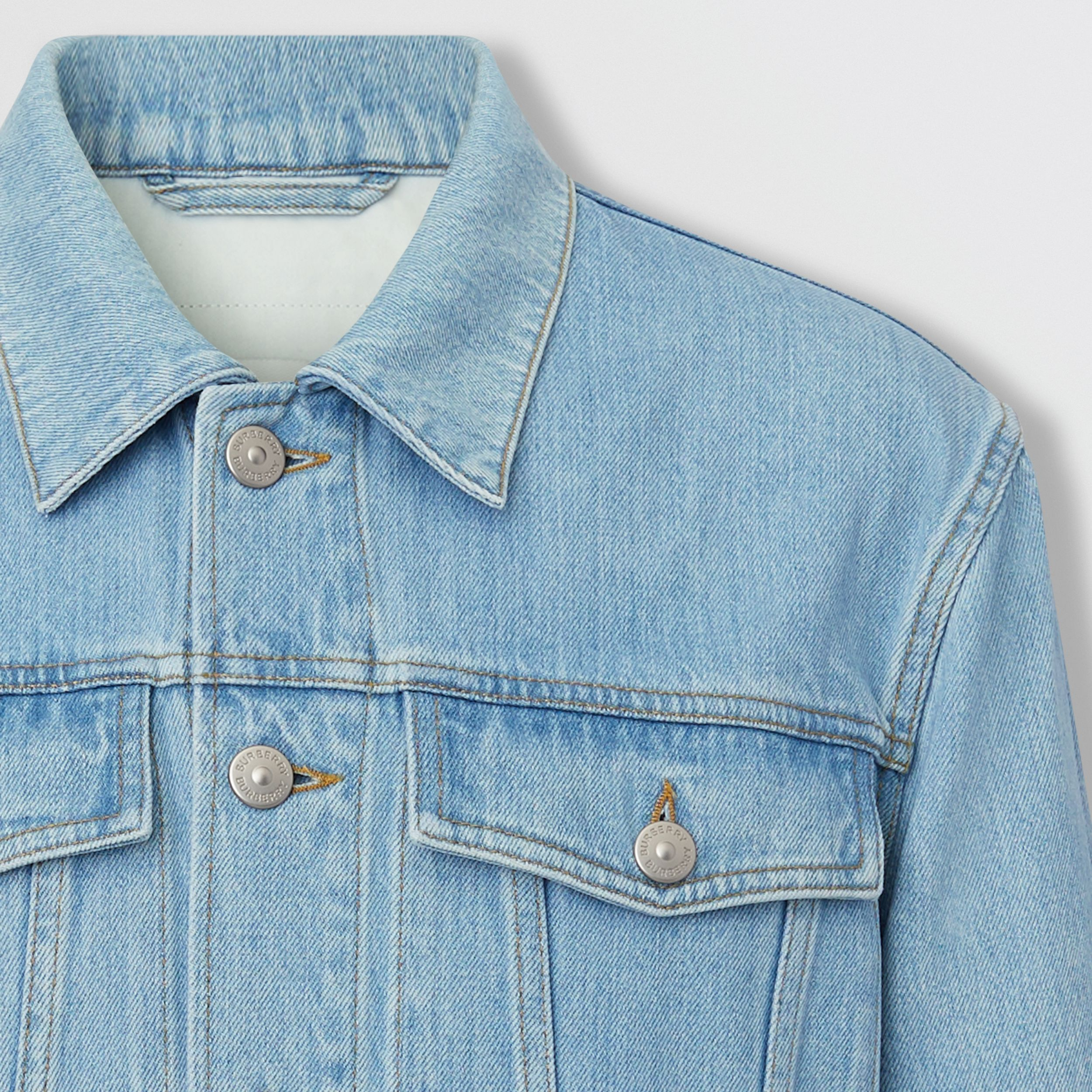 Logo Appliqué Japanese Denim Jacket in Light Indigo Blue - Men | Burberry Australia - 3