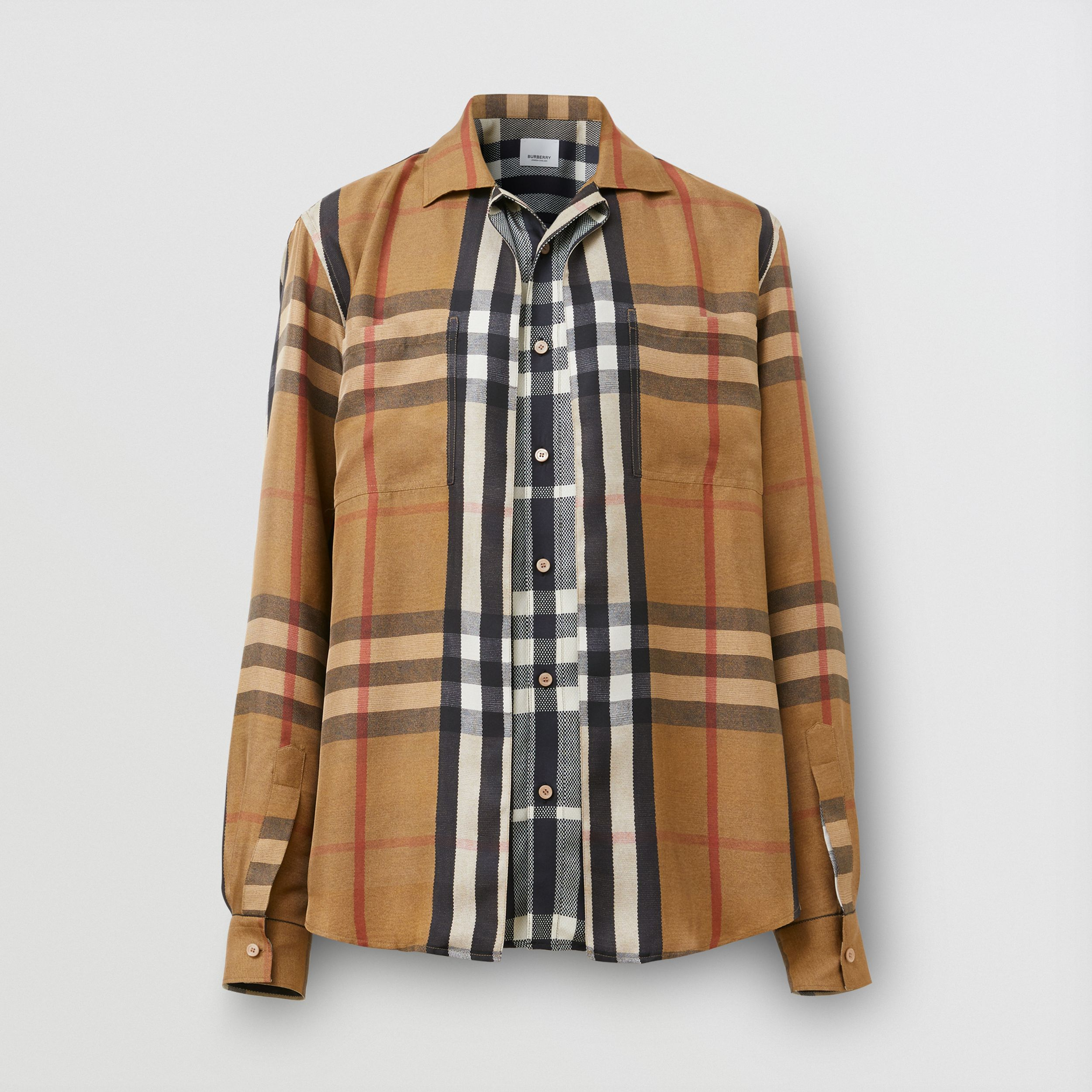 Classic Fit Check Silk Twill Reconstructed Shirt in Birch Brown - Men | Burberry - 4