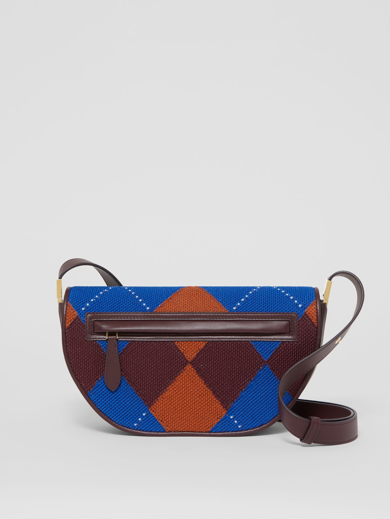 Small Argyle Knit and Leather Olympia Bag in Bright Blue