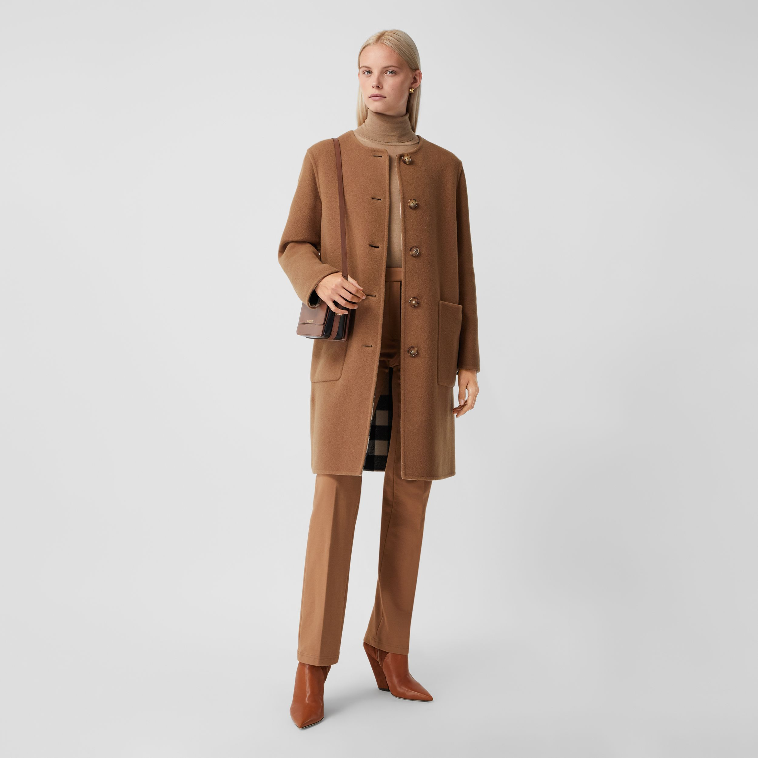 Reversible Check Technical Wool Coat in Mid Camel - Women | Burberry - 1