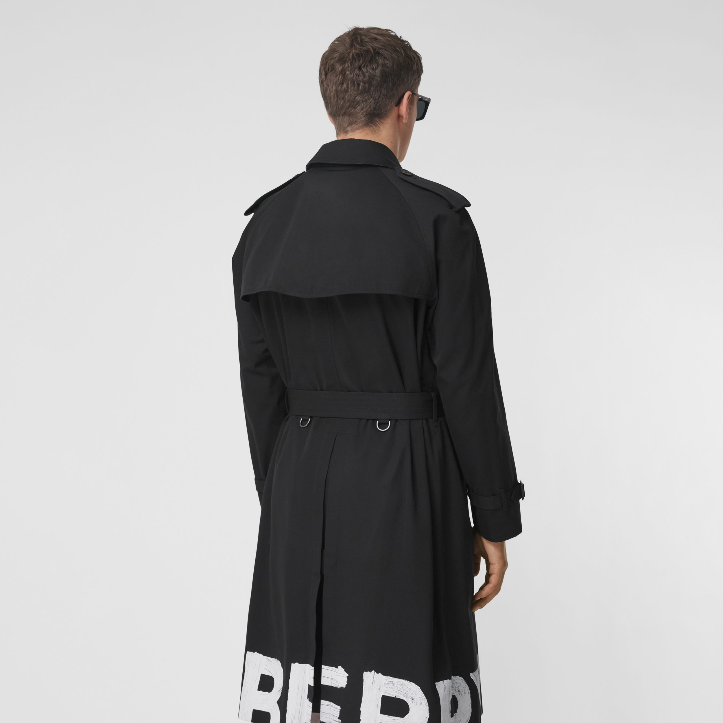 Logo Print Cotton Gabardine Trench Coat in Black - Men | Burberry - 3