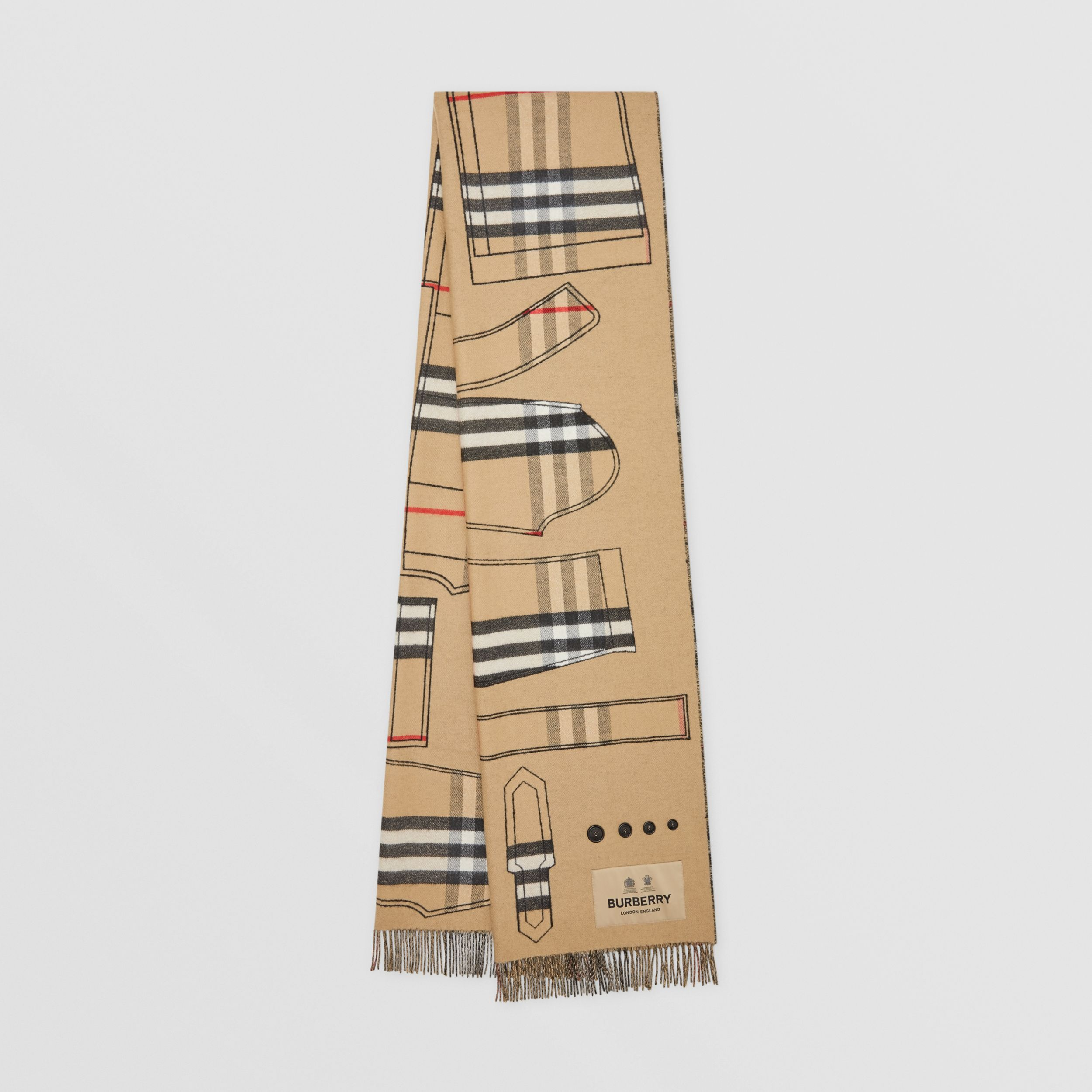 Archive Trench Coat Pattern Cashmere Jacquard Scarf in Beige | Burberry - 1