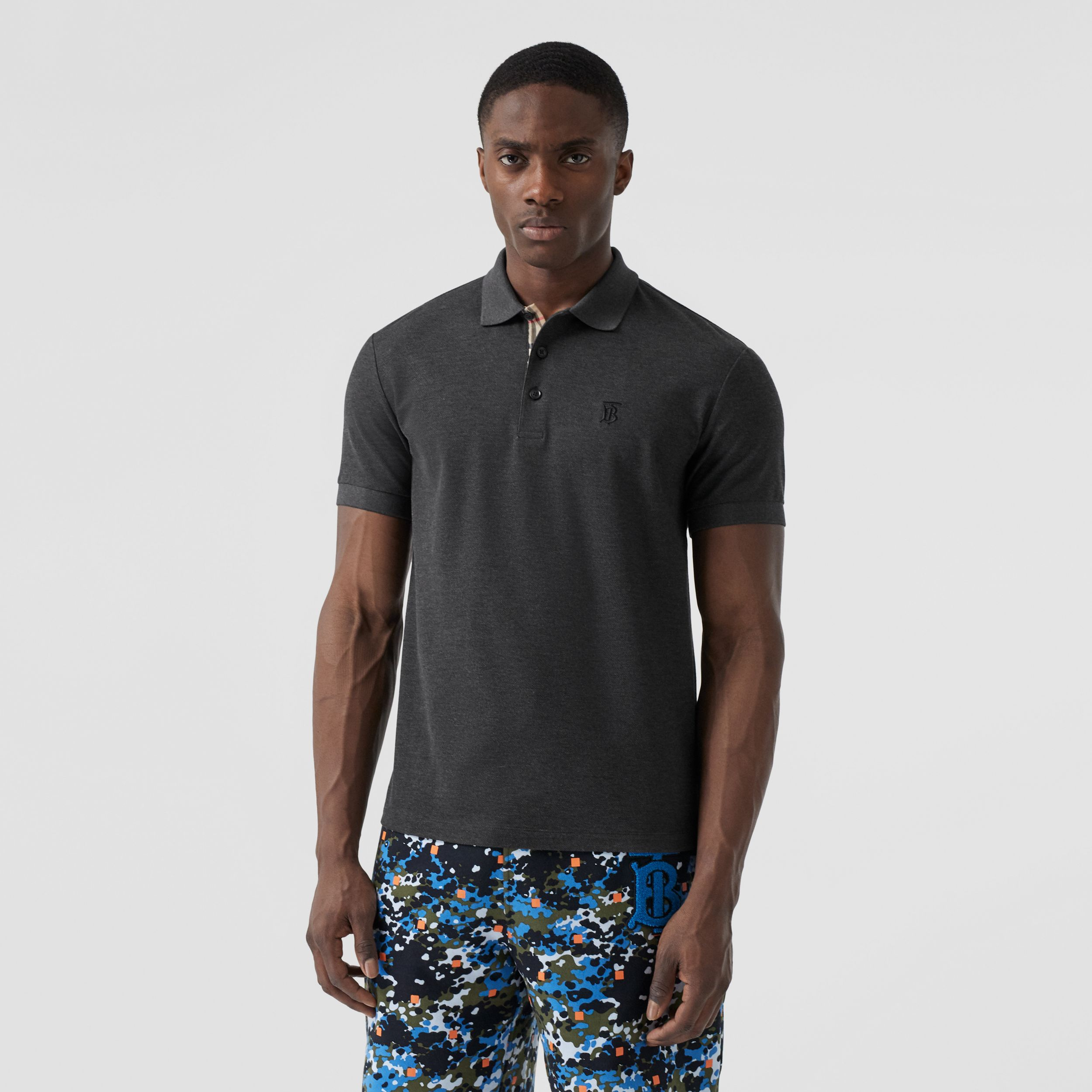 Monogram Motif Cotton Piqué Polo Shirt in Charcoal Melange - Men | Burberry - 1