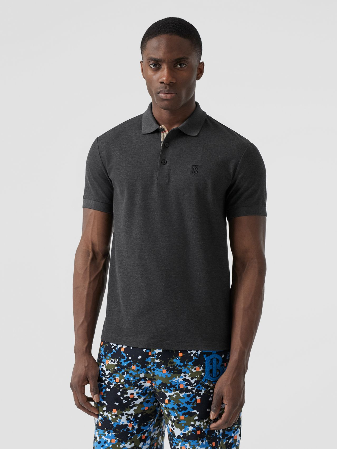 Monogram Motif Cotton Piqué Polo Shirt