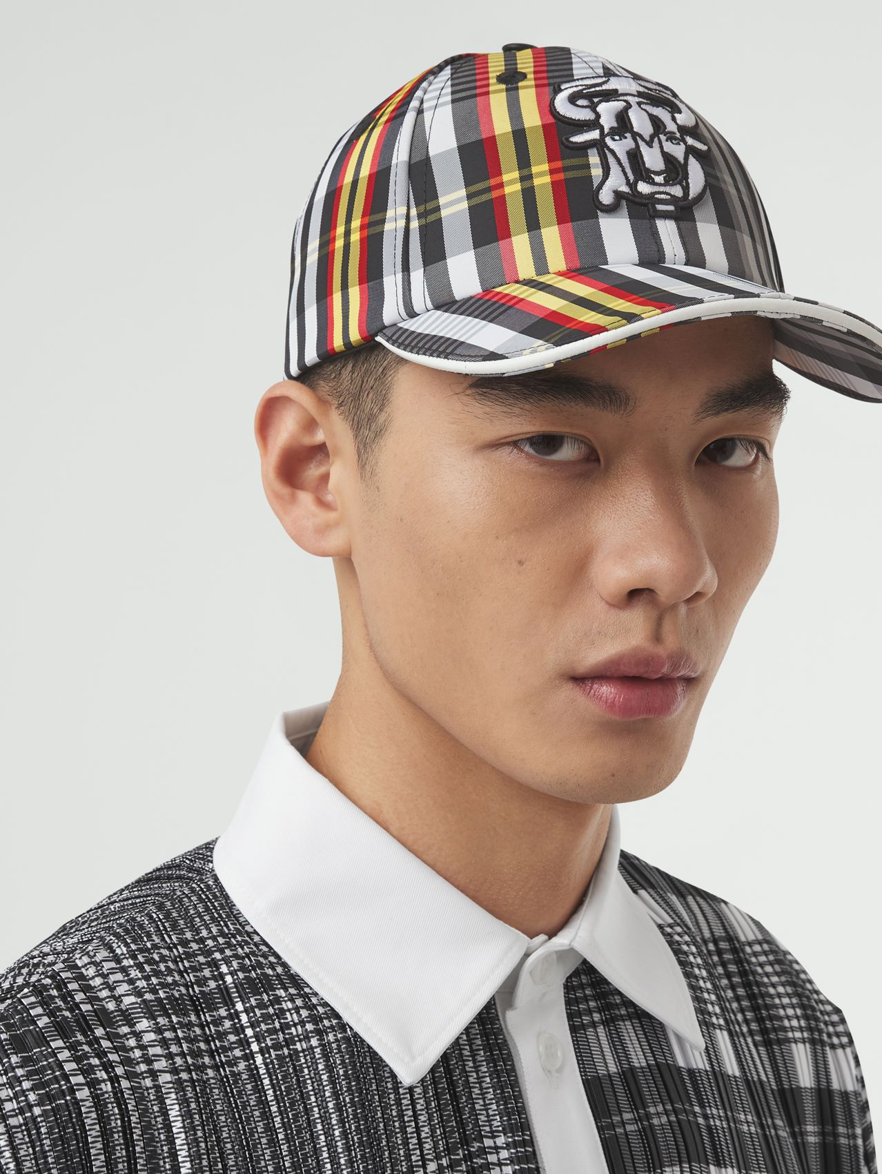 Monogram Motif Check Nylon Baseball Cap in Grey