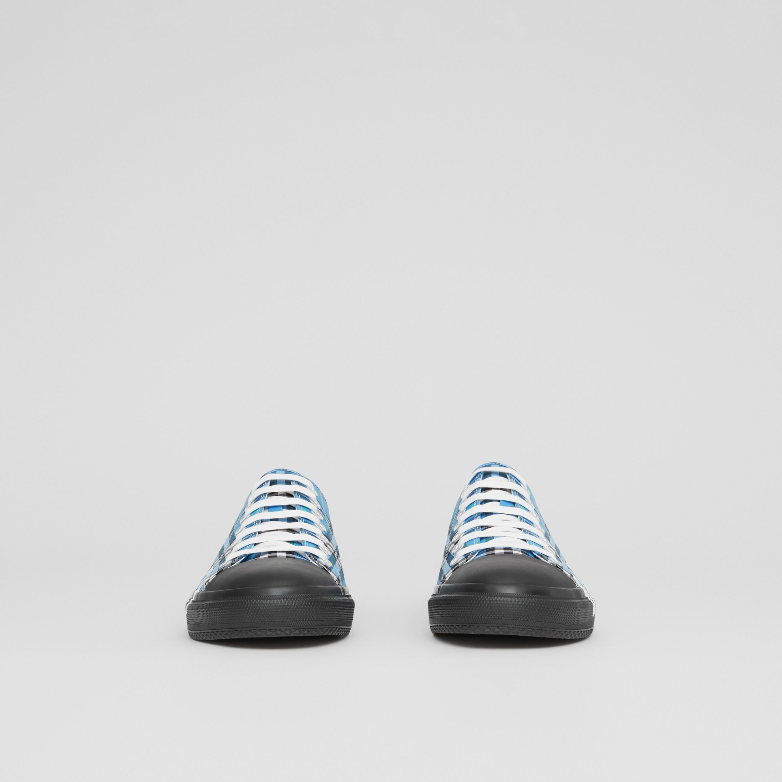 Logo Print Check Cotton Sneakers in Blue Azure - Men | Burberry - 4