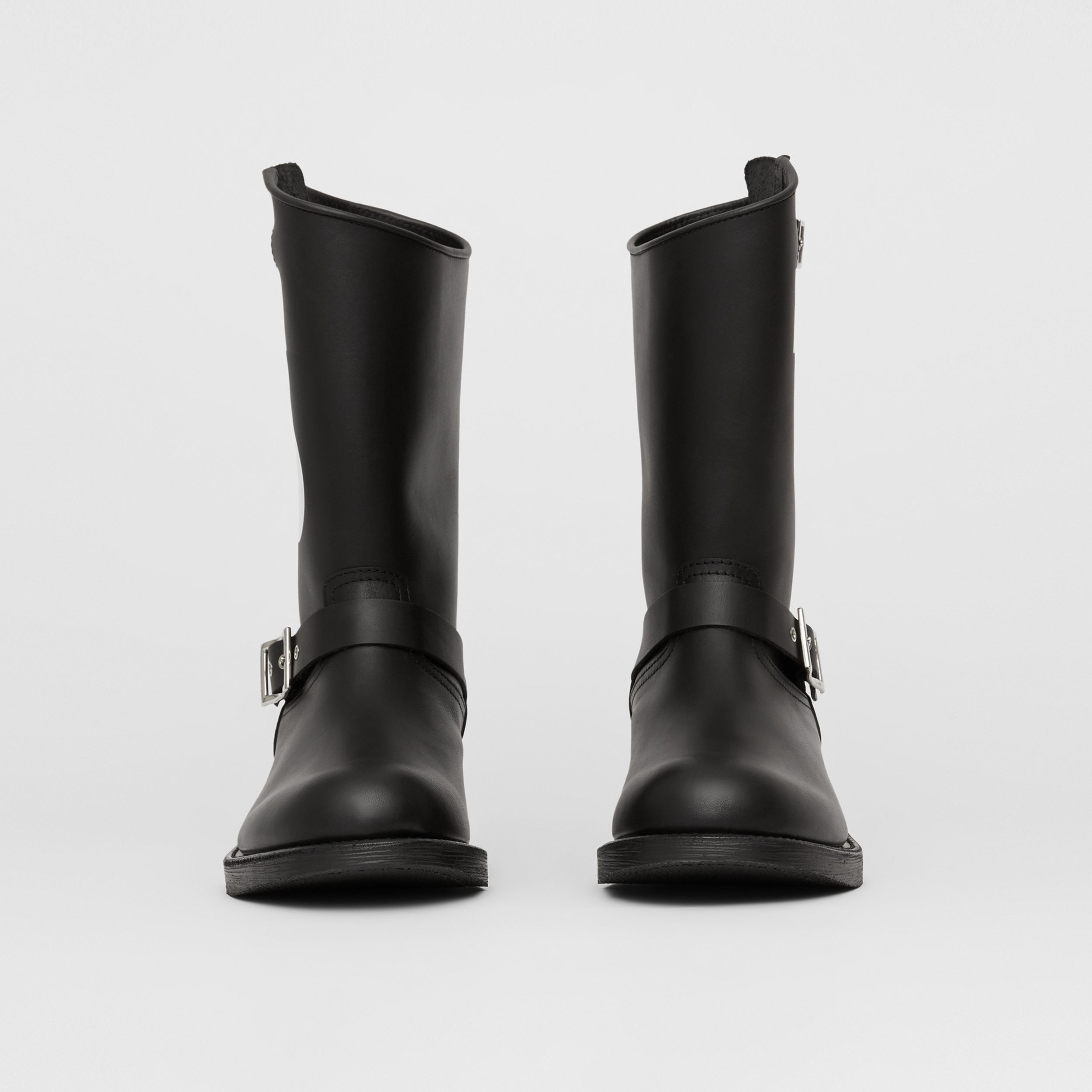 TB Motif Leather Biker Boots in Black - Men | Burberry - 4