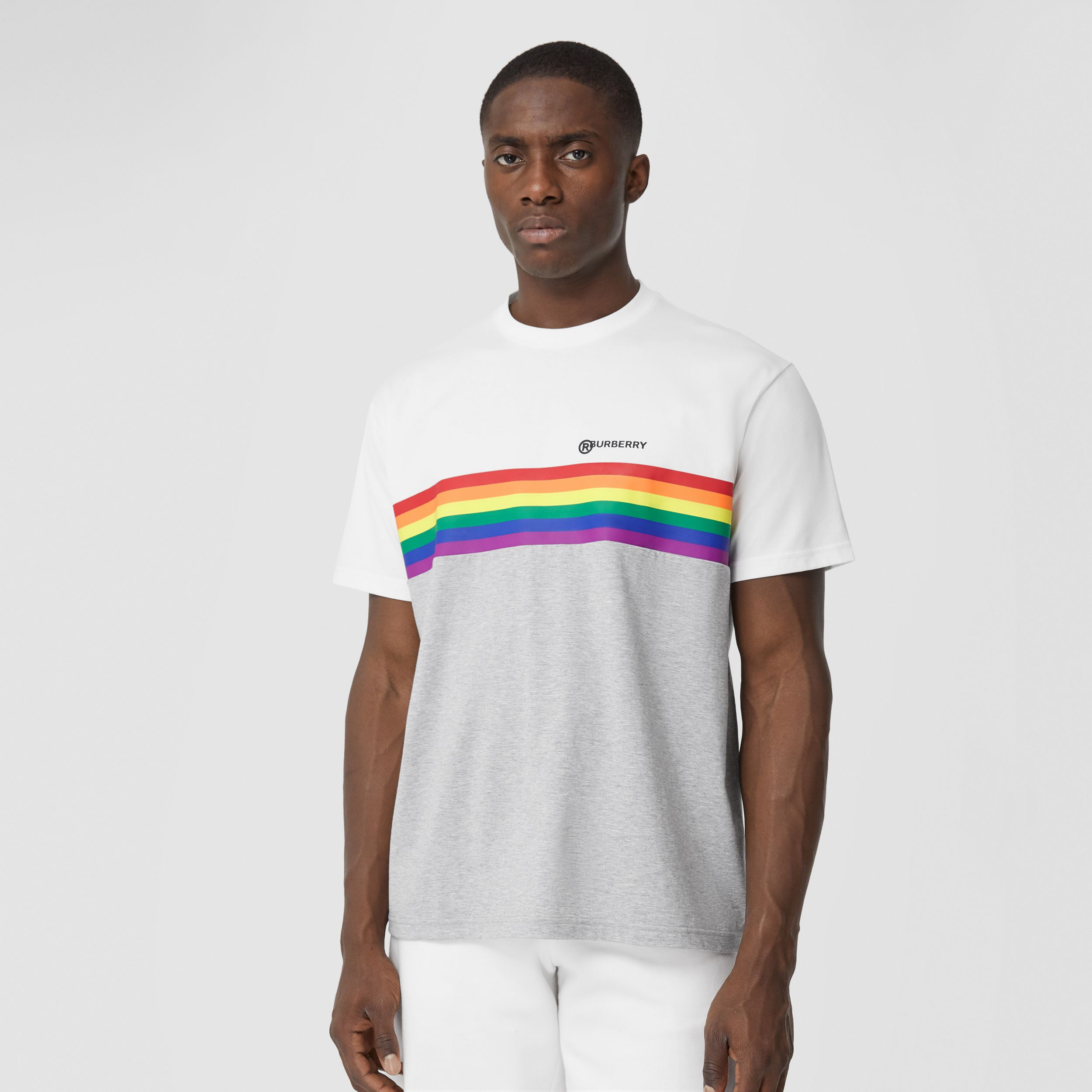 Rainbow Stripe Print Cotton T-shirt – Unisex in White | Burberry United Kingdom - 4