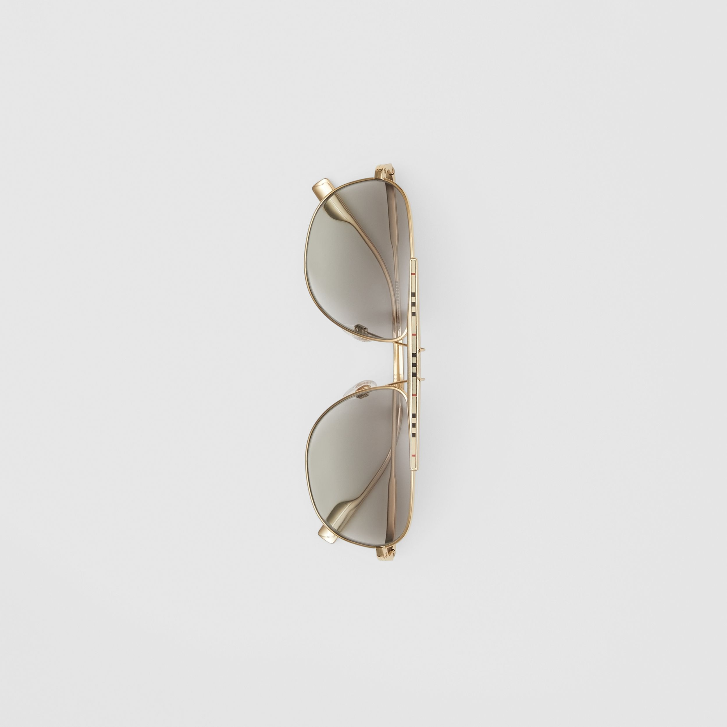 Icon Stripe Detail Pilot Sunglasses in Gold - Men | Burberry - 4