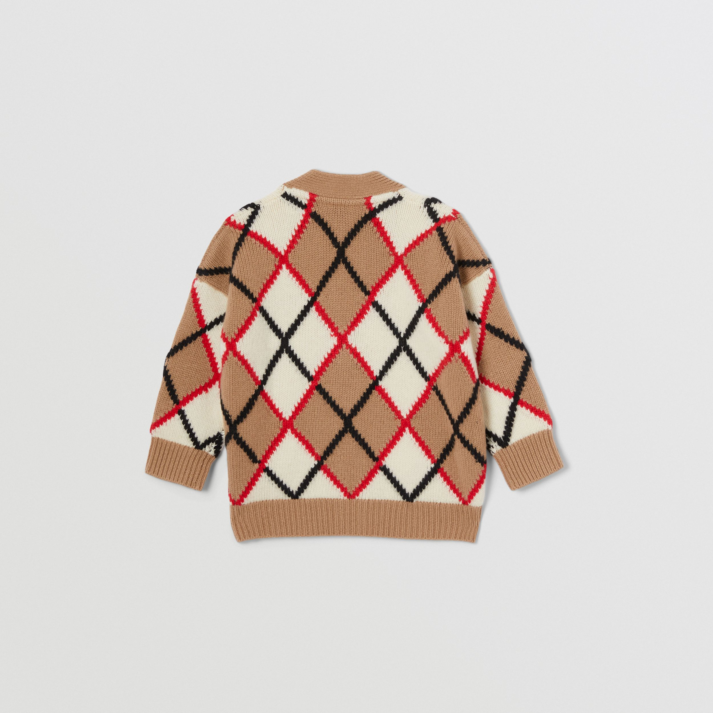 Argyle Intarsia Wool Cashmere Cardigan in Camel - Children | Burberry - 3