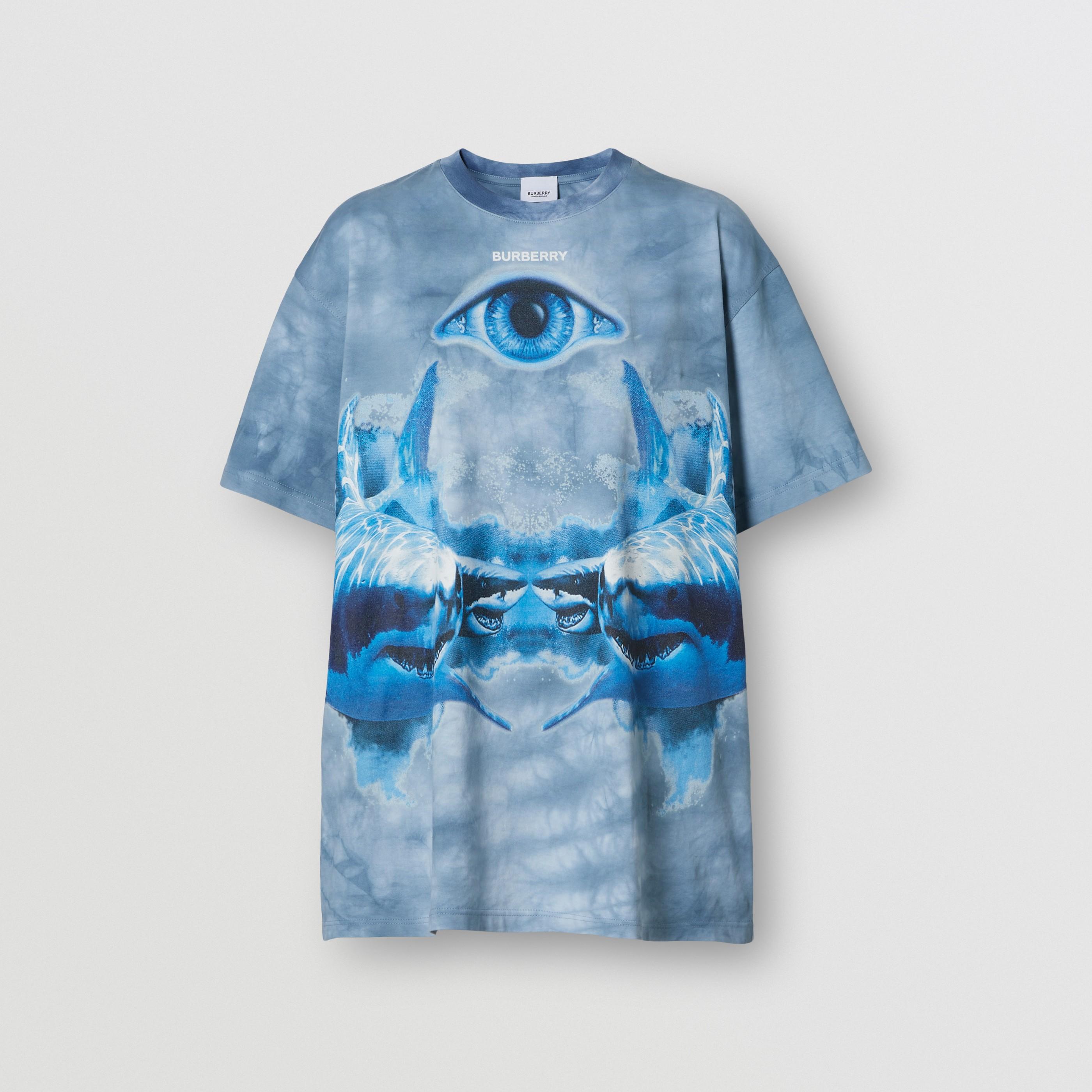 T-shirt oversize in cotone con stampa squalo (Blu Inchiostro) - Donna | Burberry - 4
