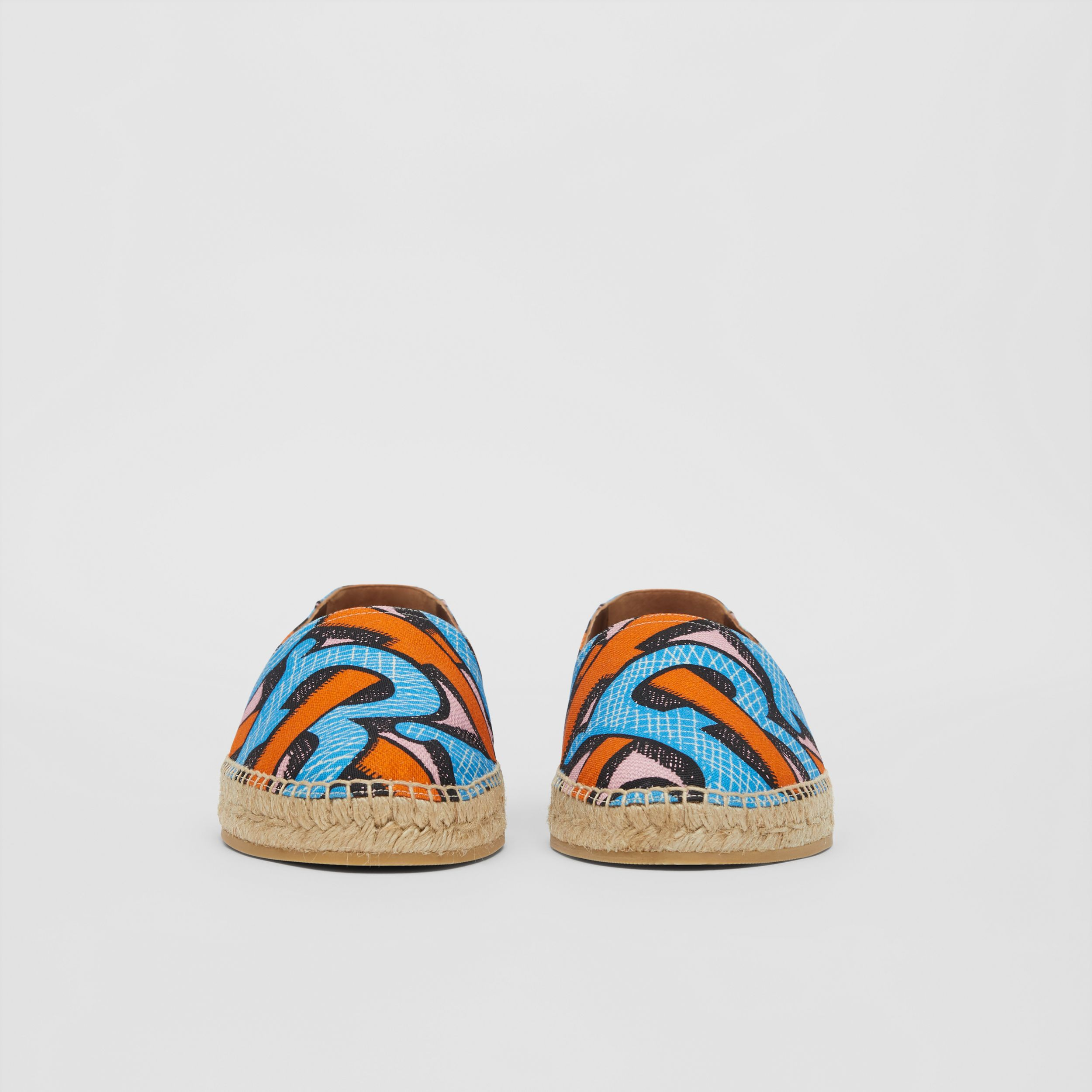 Monogram Print Cotton Canvas Espadrilles in Bright Cobalt - Men | Burberry - 4
