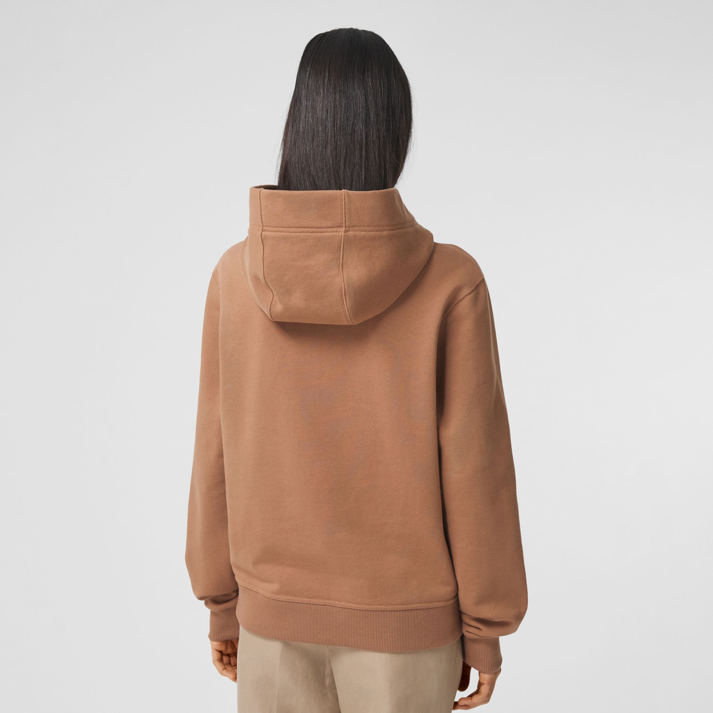 Lace-up Horseferry Print Cotton Oversized Hoodie in Camel - Women | Burberry - 3