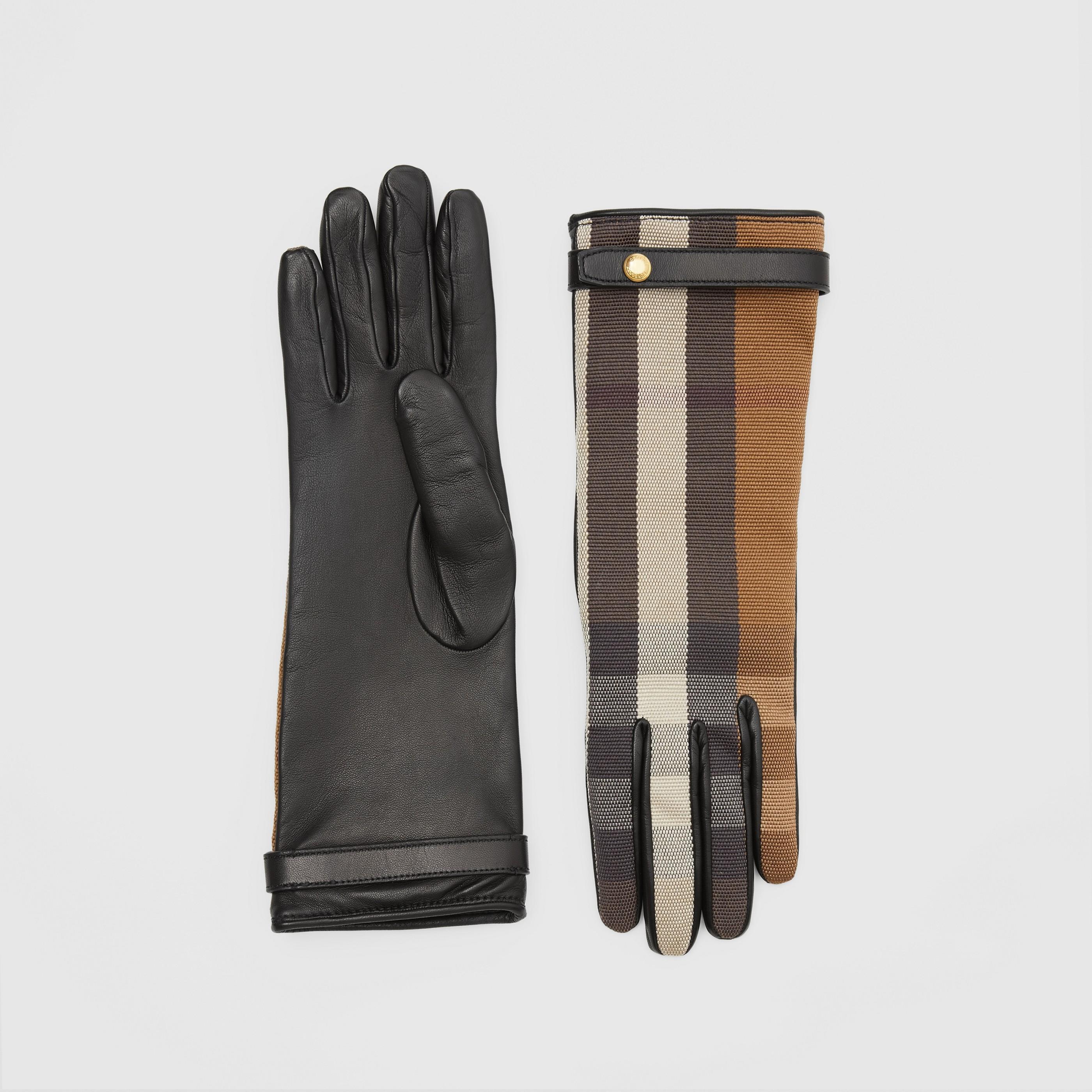 Guanti in pelle di agnello e cotone tecnico con motivo tartan e fodera in cashmere (Marrone Betulla) - Donna | Burberry - 1