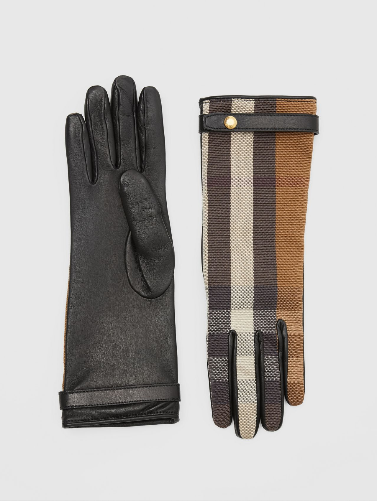 Cashmere-lined Technical Check and Lambskin Gloves in Birch Brown