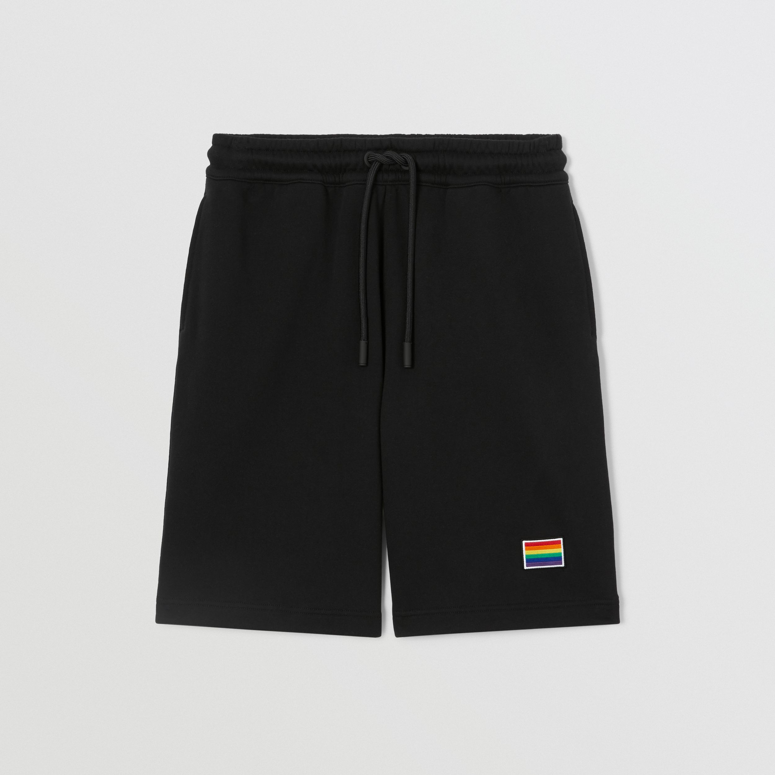 Rainbow Appliqué Cotton Drawcord Shorts – Unisex in Black | Burberry United Kingdom - 1