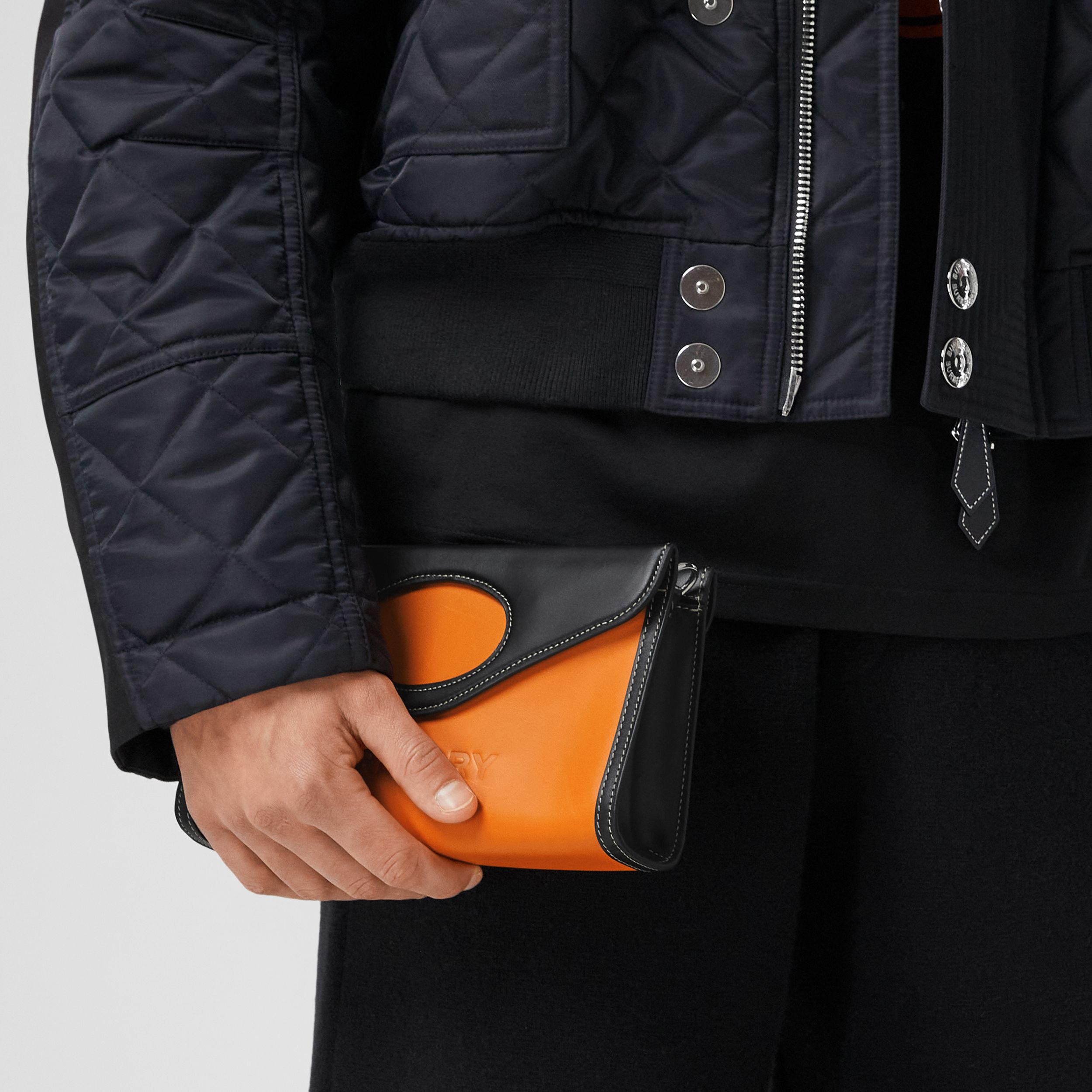 Two-tone Leather Foldover Pocket Bag in Deep Orange/black - Men | Burberry Australia - 4
