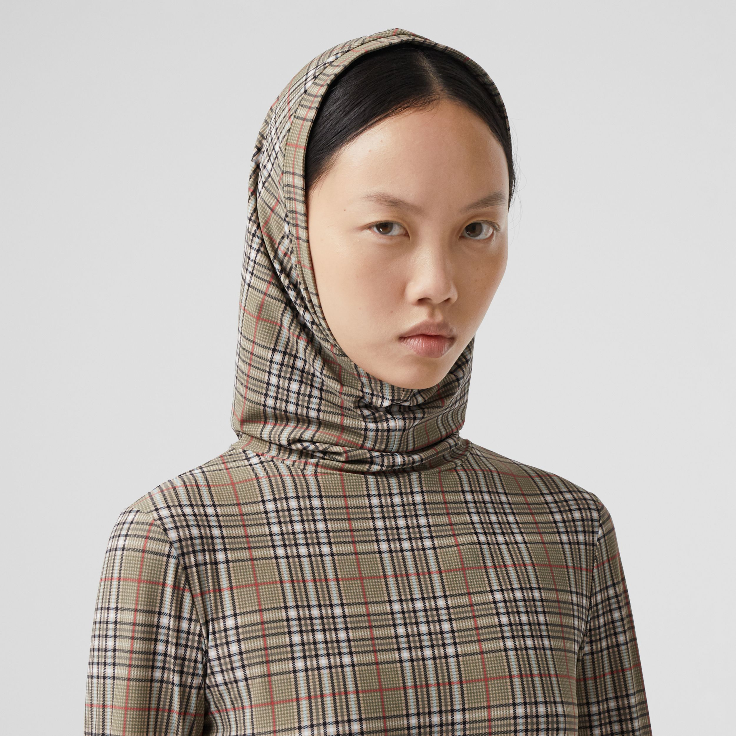 Check Stretch Jersey Hooded Top in Soft Fawn - Women | Burberry Australia - 2