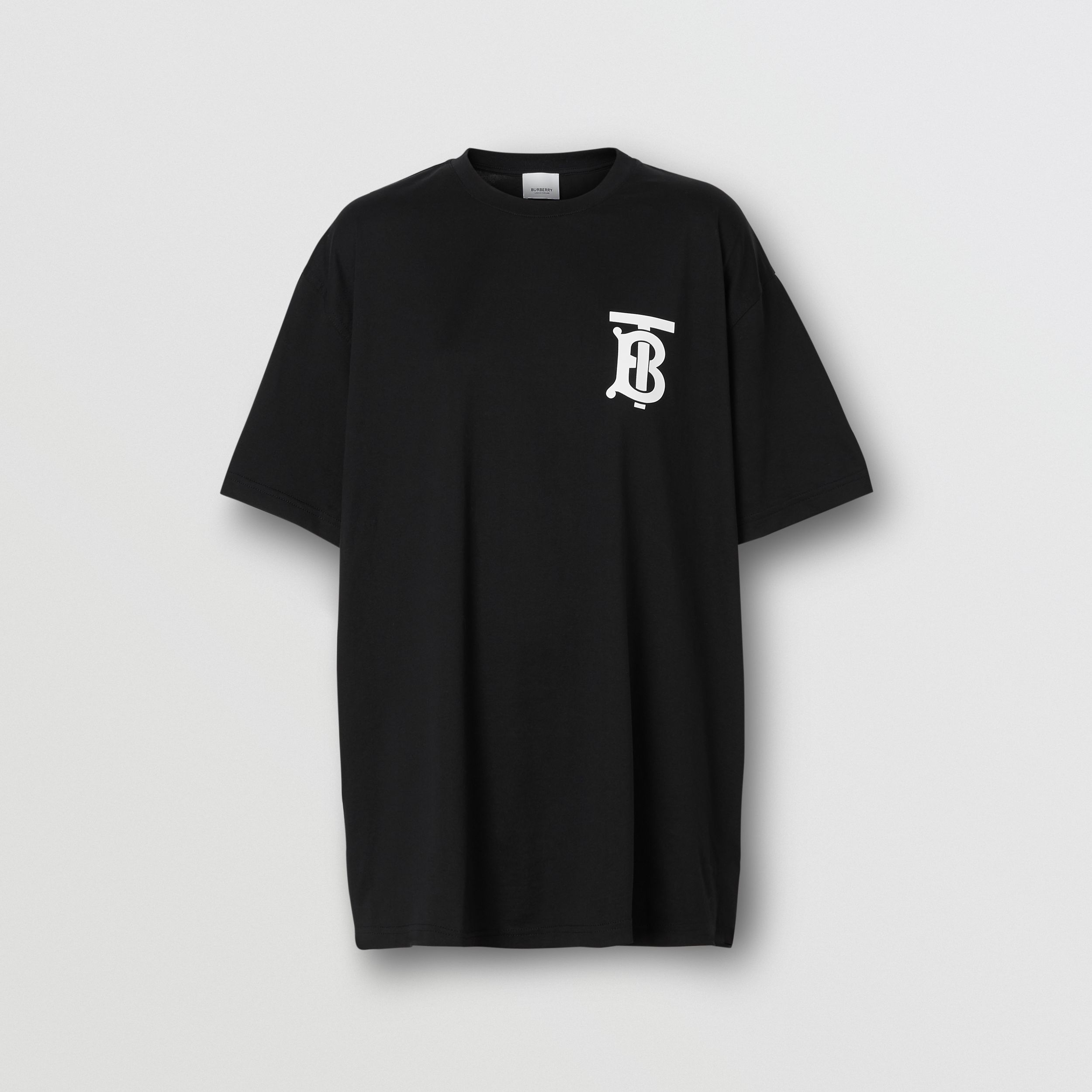 Monogram Motif Cotton Oversized T-shirt in Black - Women | Burberry - 4