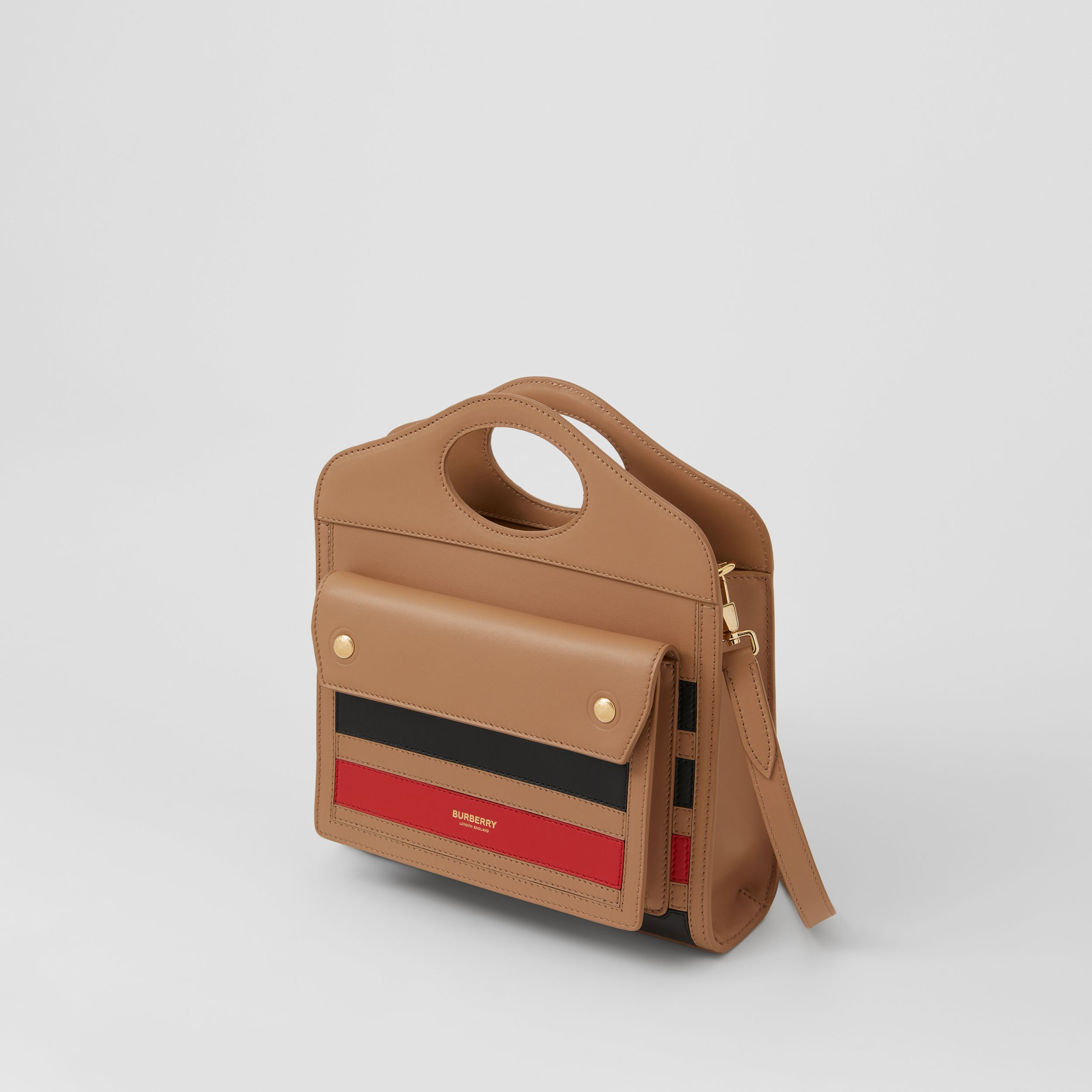 Mini Striped Intarsia Leather Pocket Bag in Camel - Women | Burberry - 4