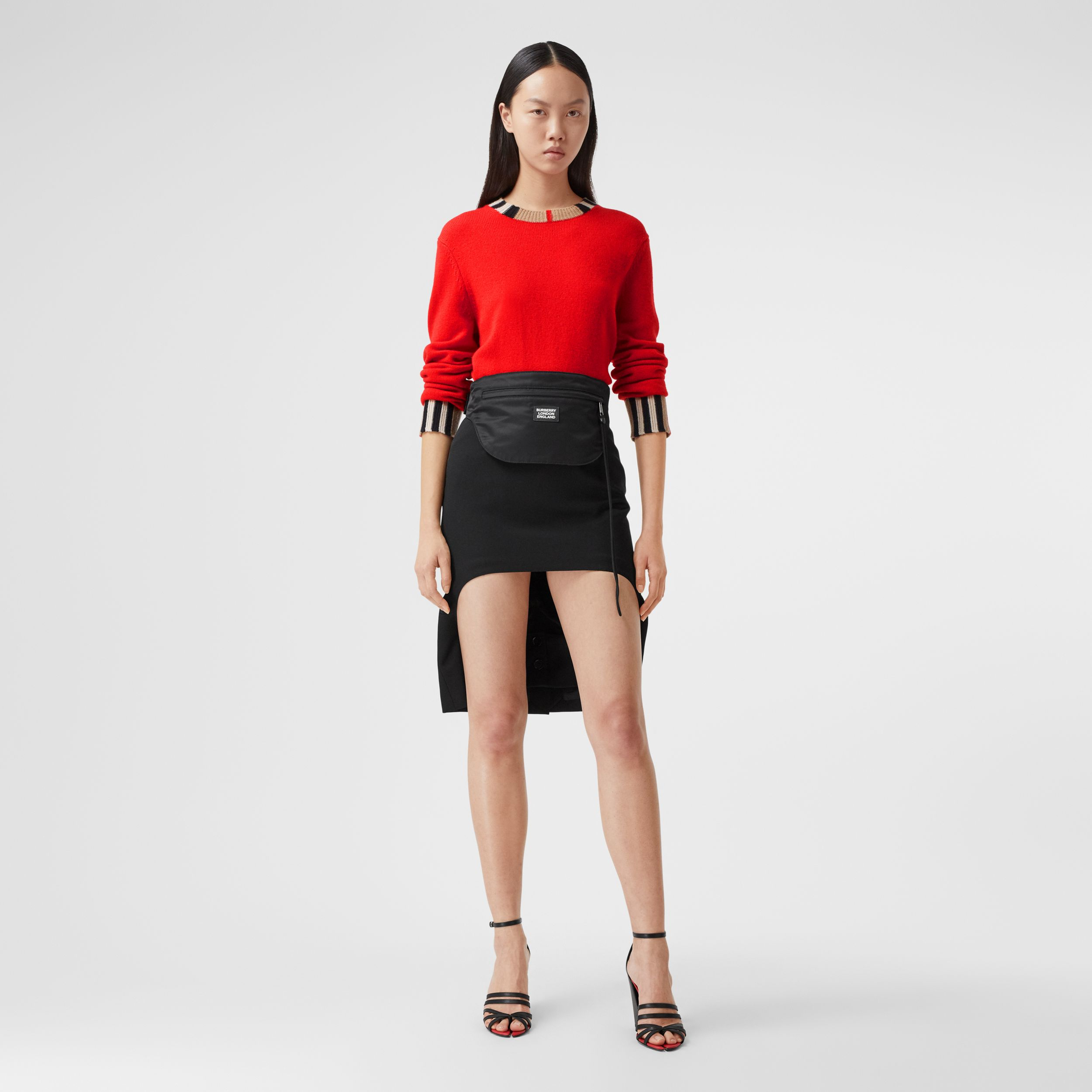 Icon Stripe Trim Cashmere Sweater in Bright Red - Women | Burberry - 1
