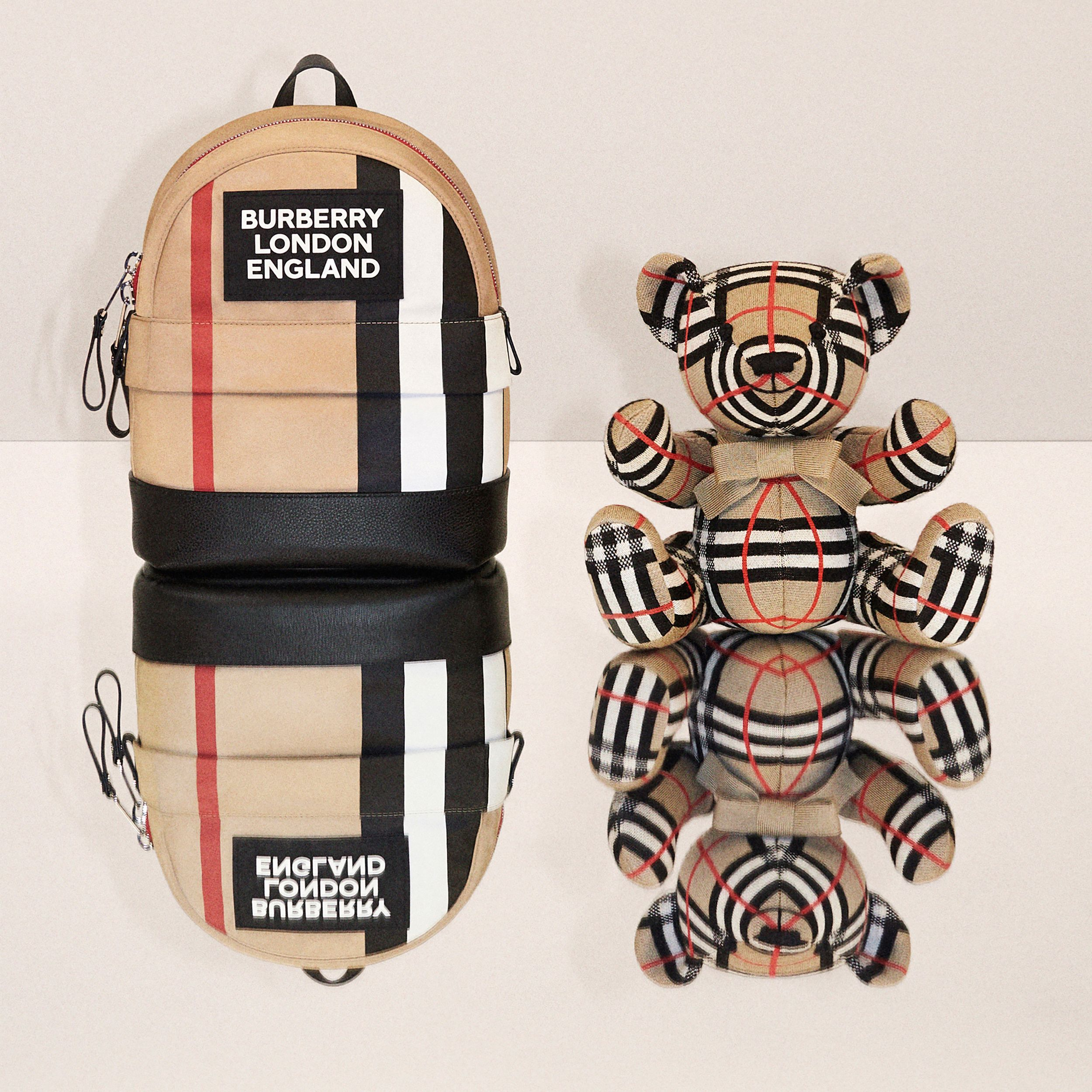 Logo Appliqué Icon Stripe ECONYL® Backpack in Archive Beige - Children | Burberry - 2