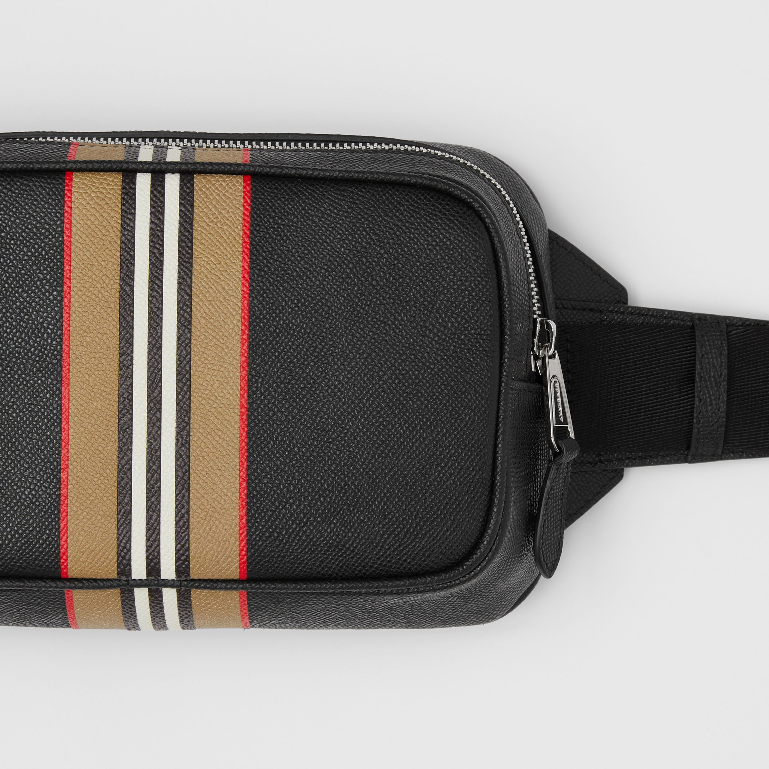 Icon Stripe Print Grainy Leather Bum Bag in Black - Men | Burberry - 2