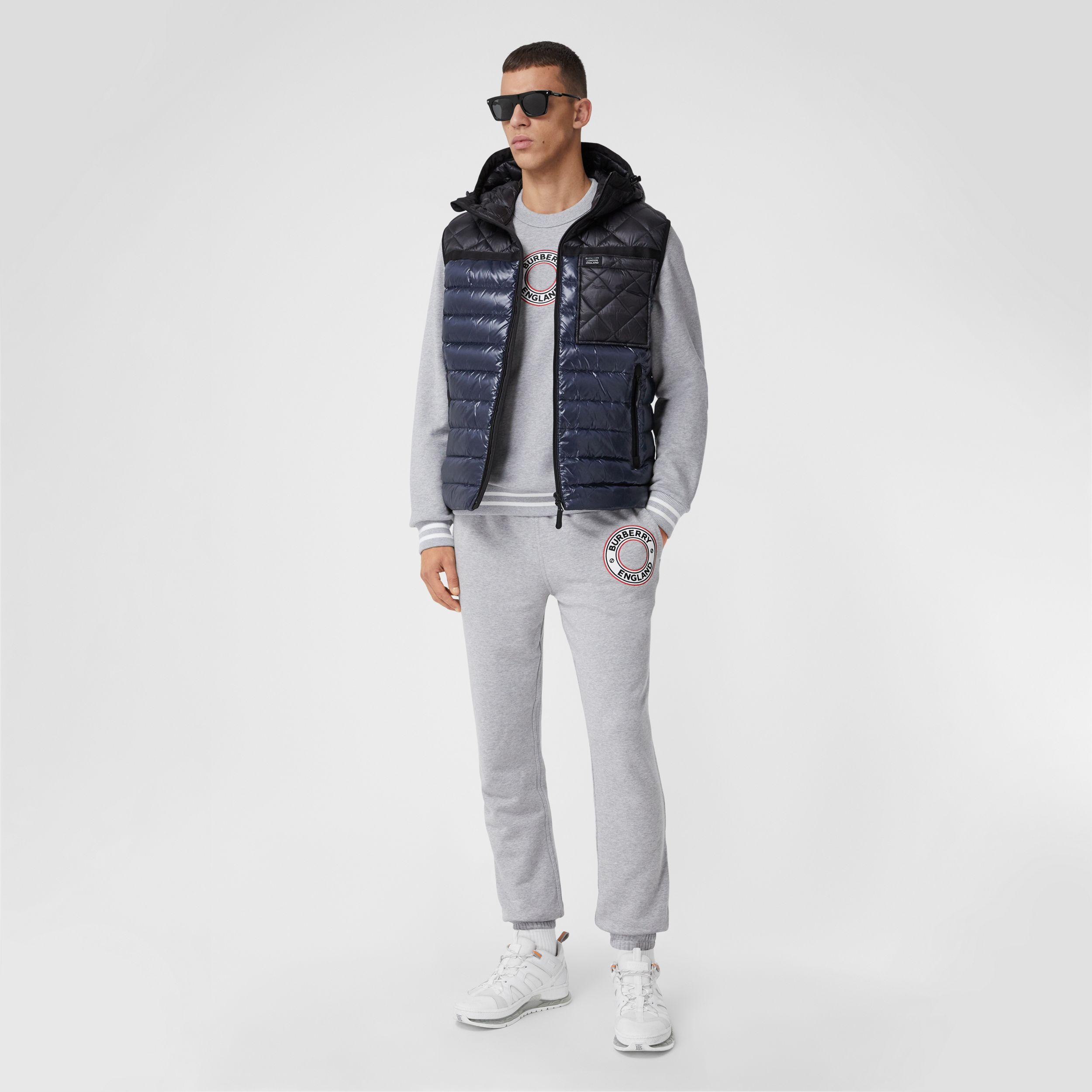 Diamond Quilted Panel Hooded Puffer Gilet in Midnight - Men | Burberry - 1