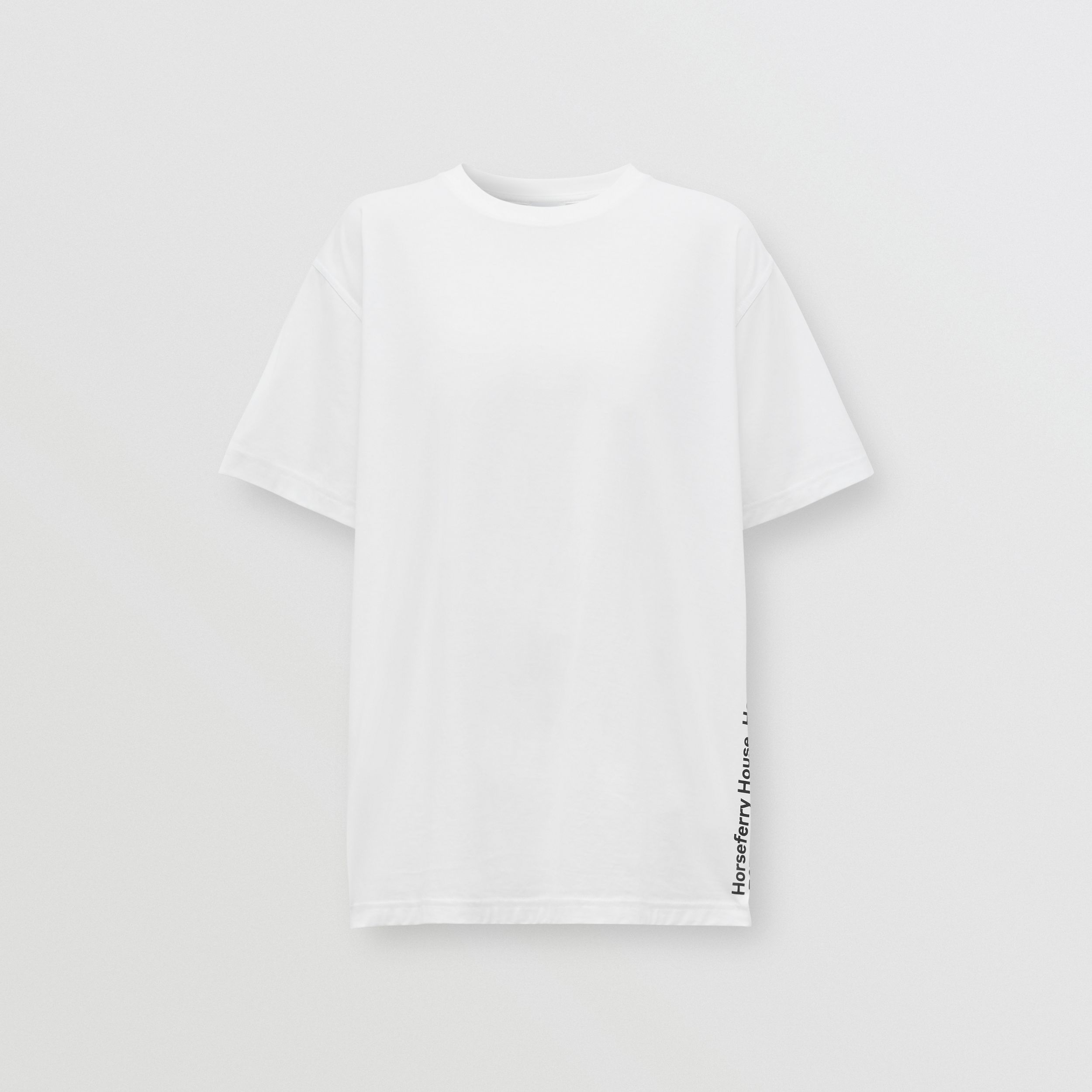 Coordinates Print Cotton Oversized T-shirt in White - Women | Burberry - 4